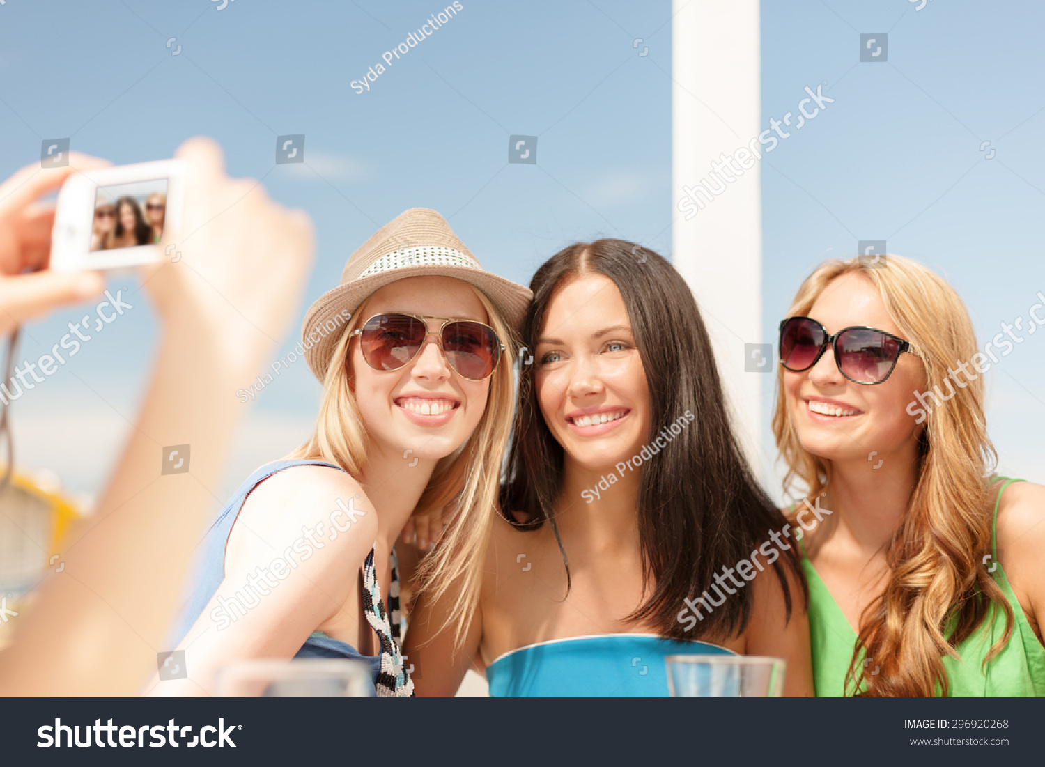 Summer Holidays Vacation Concept Smiling Girls Stock Photo