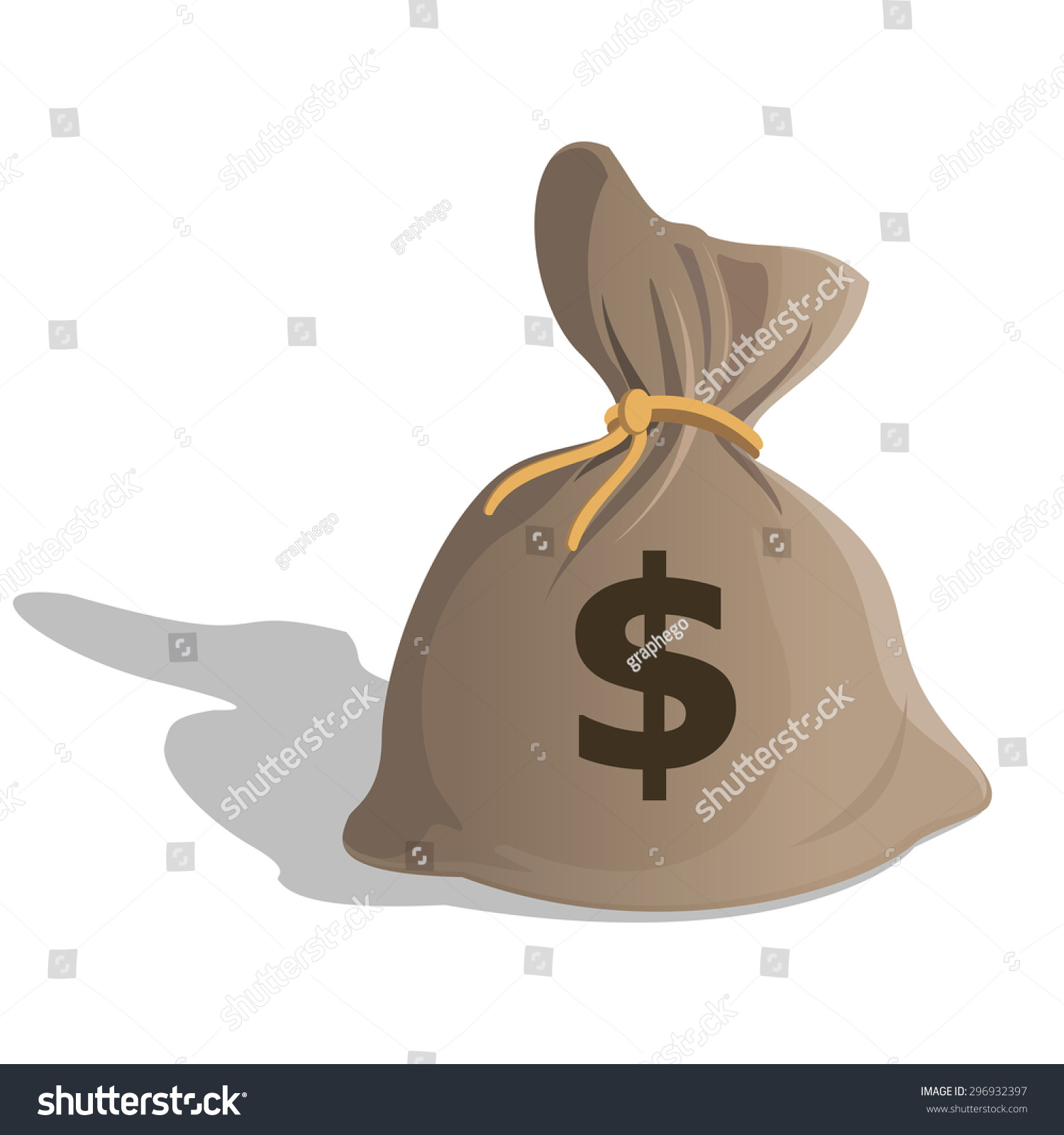 Bag With Money Sign Cartoon: Money Bag Or Sack Cartoon Style Icon With Dollar Sign