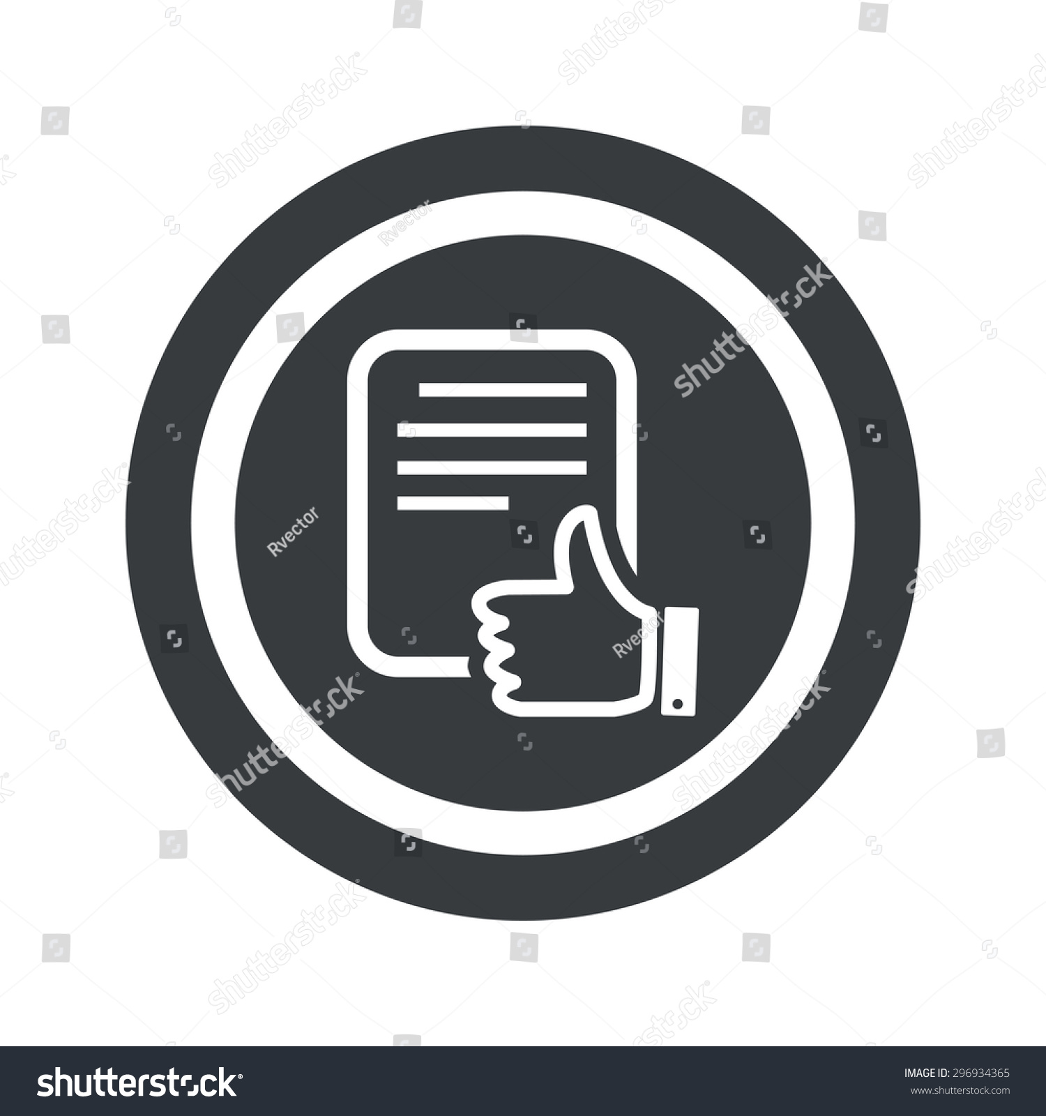 Document page like symbol circle on stock vector 296934365 document page with like symbol in circle on black circle isolated on white buycottarizona Choice Image