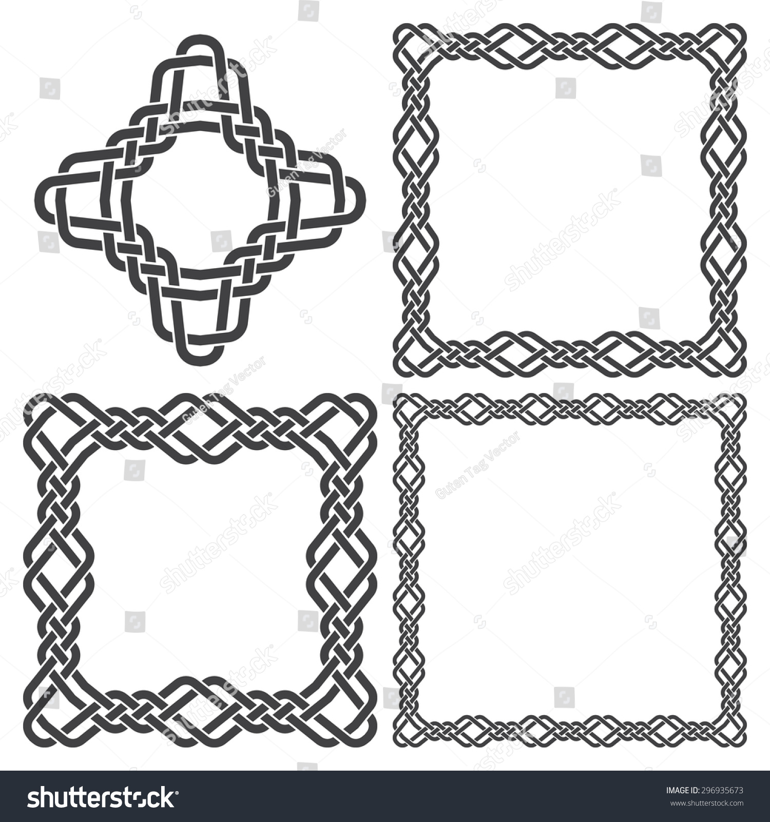 set of magic knotting frames and celtic cross 4 square decorative elements with stripes braiding