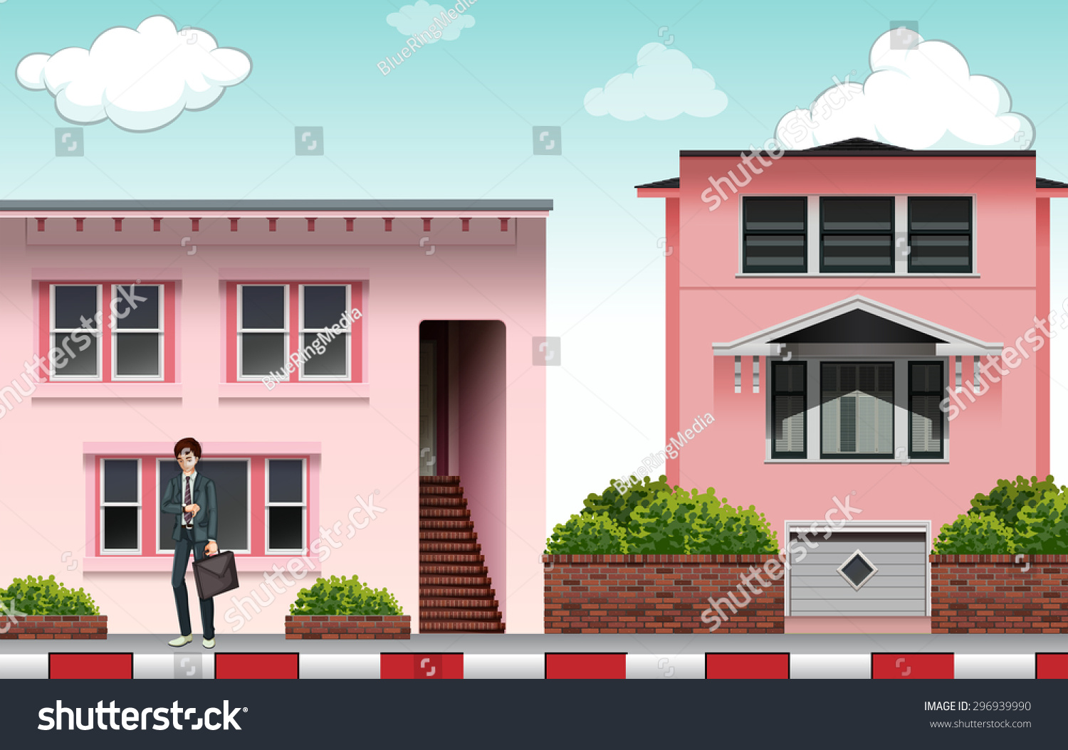 Front View Modern Pink Color House Stock Vector (Royalty Free ...