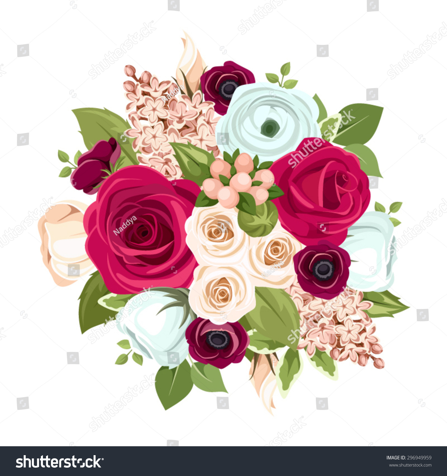 Vector Bouquet Red White Blue Roses Stock Vector 296949959 ...