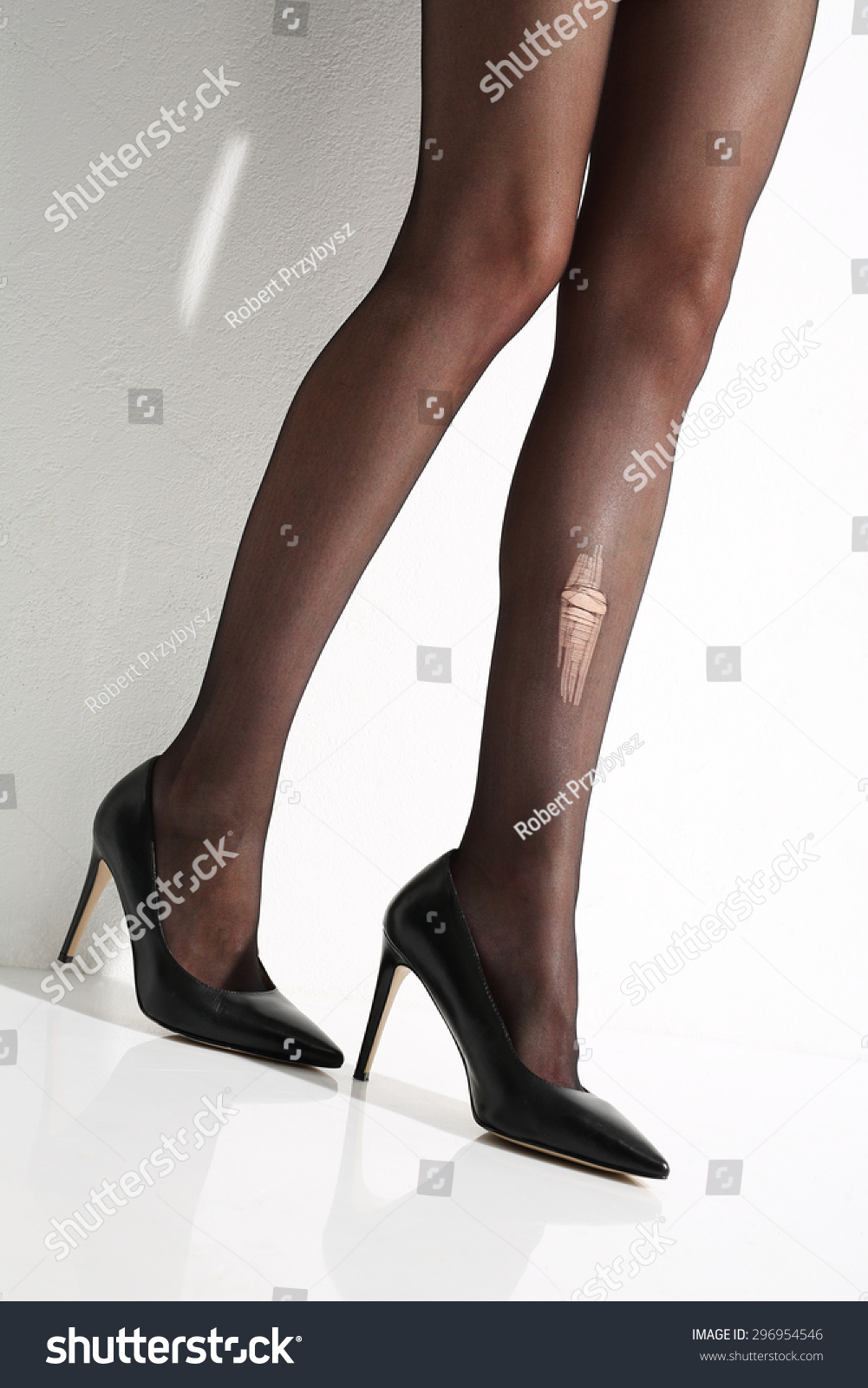 842c95a62 Wink Torn Tights Beautiful Leggy Woman Stock Photo (Edit Now ...