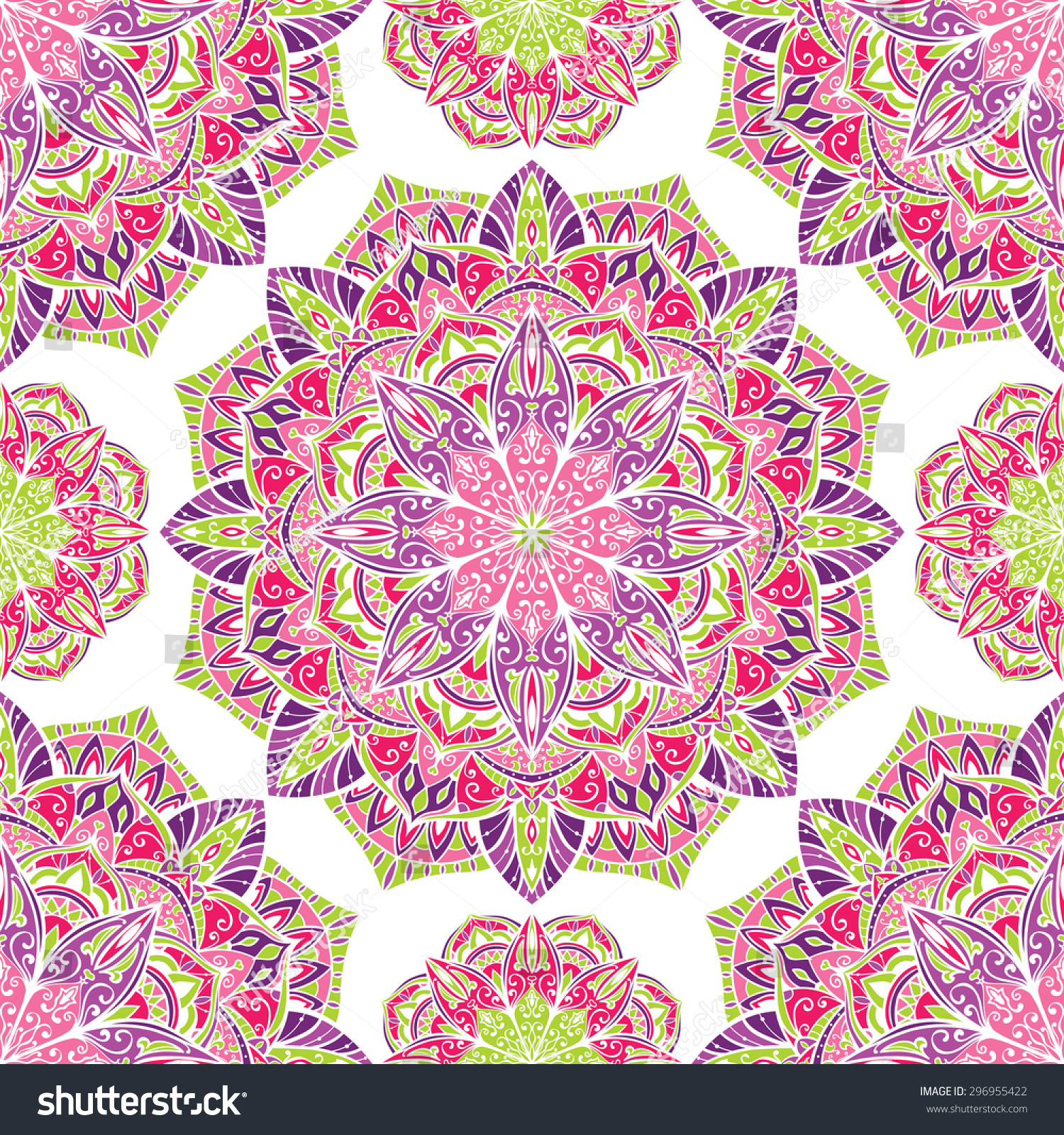 Elegant seamless vector background with oriental ornaments of mandalas on a white background Sketch pattern for fabric Bright delicate festive pattern