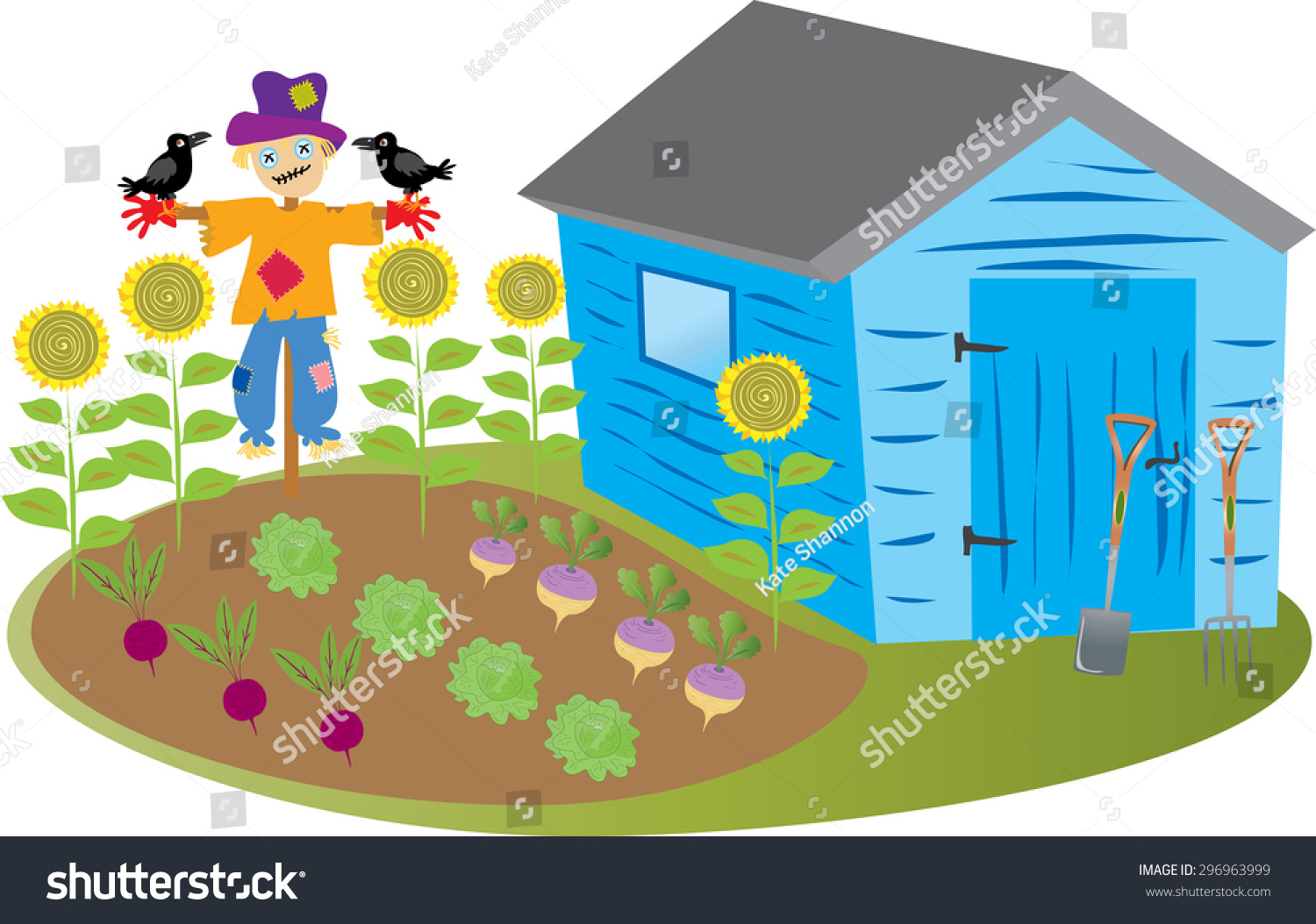 Vegetable garden cartoon - A Cartoon Garden Shed With A Vegetable Garden And A Scarecrow With Crows And Some