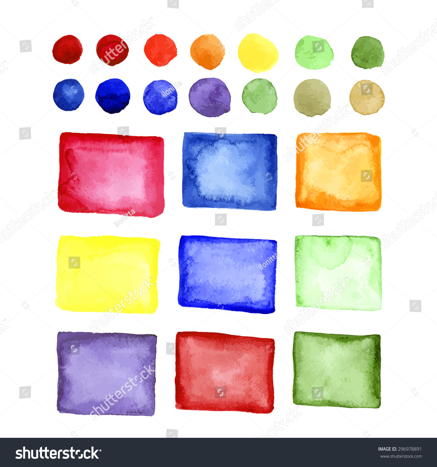 watercolor color palette collection vector isolated stock vector
