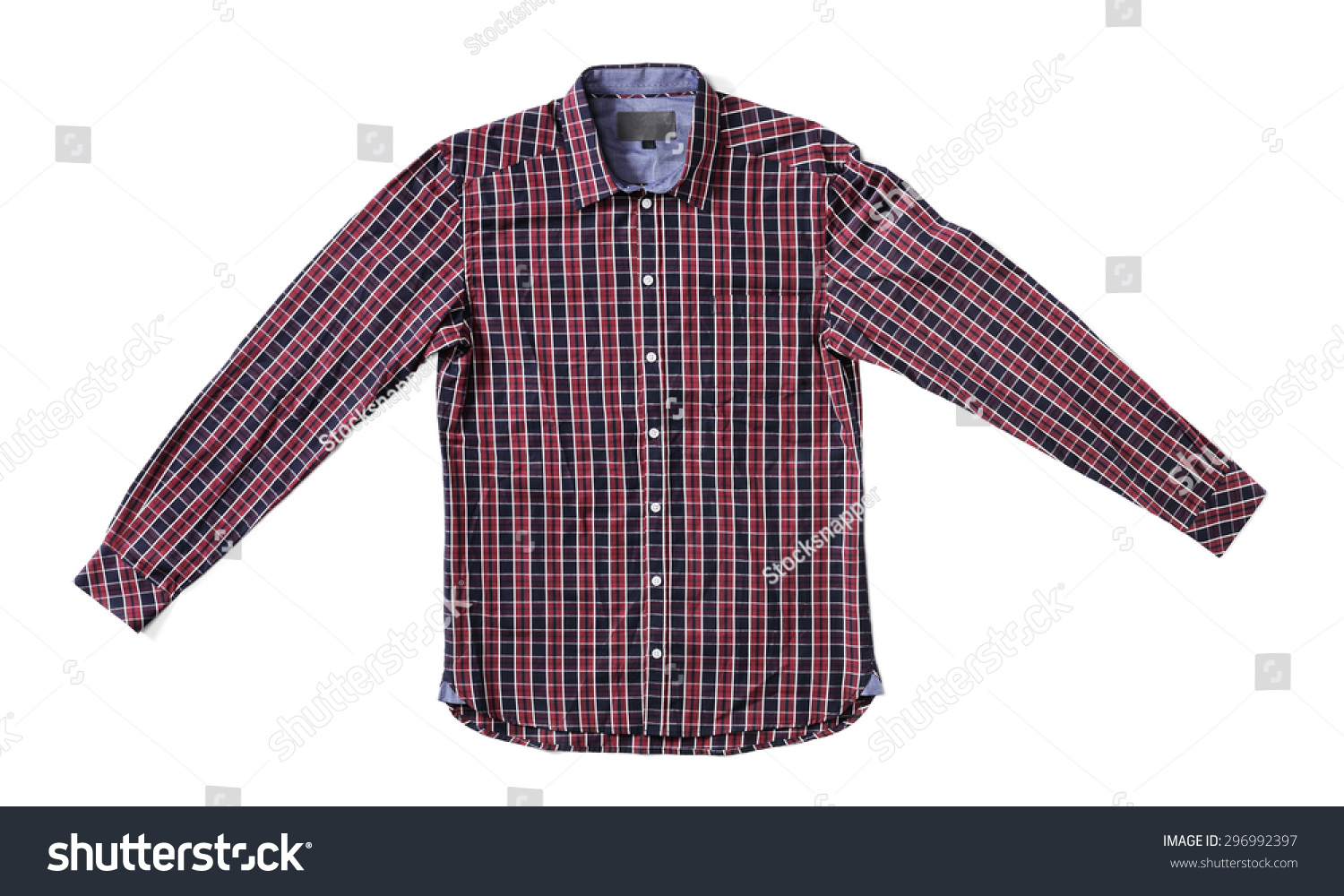 Mens red black plaid shirt isolated stock photo 296992397 for Red and white plaid shirt mens