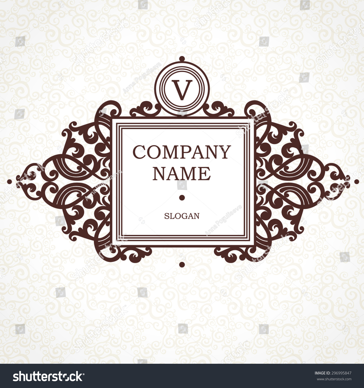Vector Logo Template Victorian Style Ornate Stock Vector (2018 ...