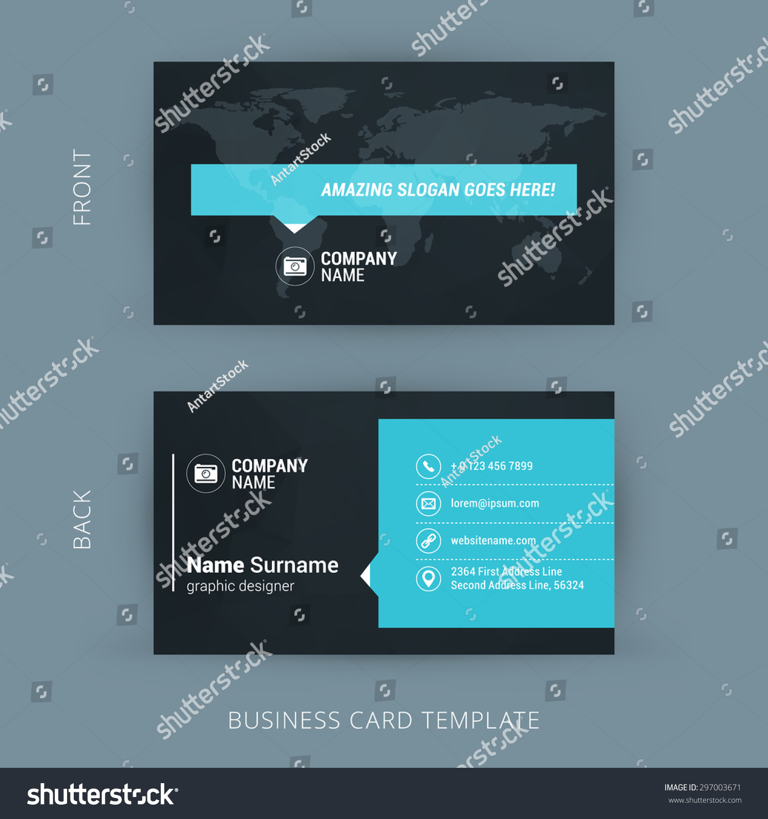 Vector Modern Creative Clean Business Card Stock Vector 297003671 ...