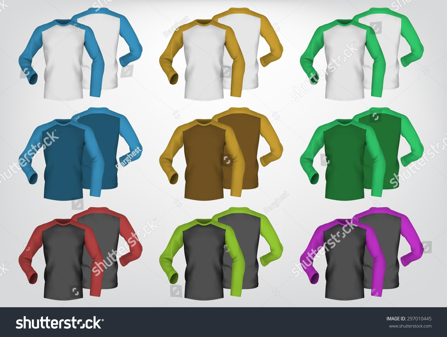 Long Sleeve Blank Two Colored Tshirt Stock Vector 297010445 ...