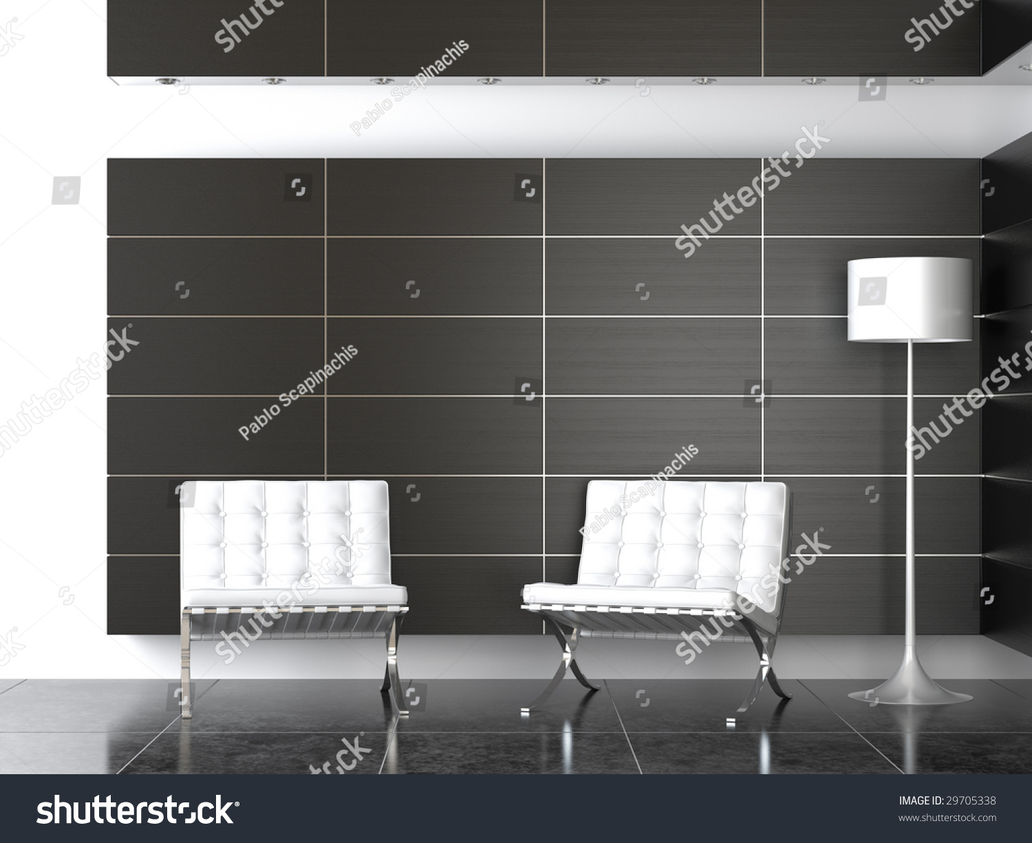 Interior Design Of Modern Reception With Two Barcelona Chairs And Lamp In Black White Colors