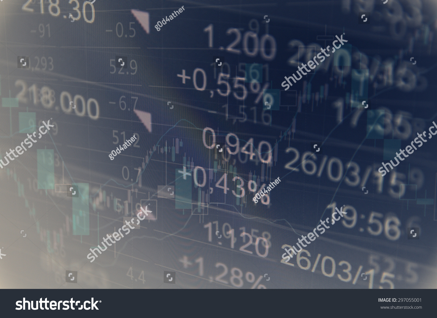 Financial data on monitor multiple exposure stock illustration multiple exposure shot of monitor with stock charts quotes and geenschuldenfo Image collections