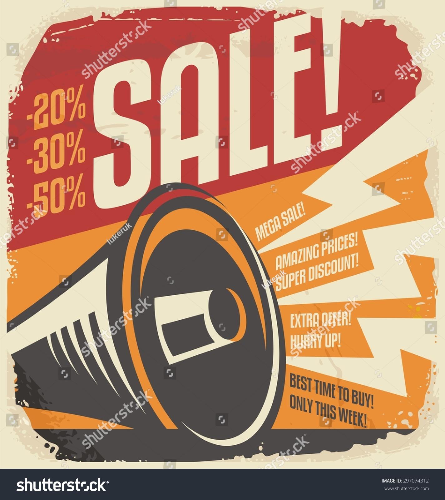 Retro Sale Poster Design Concept. Vintage Vector Ad With