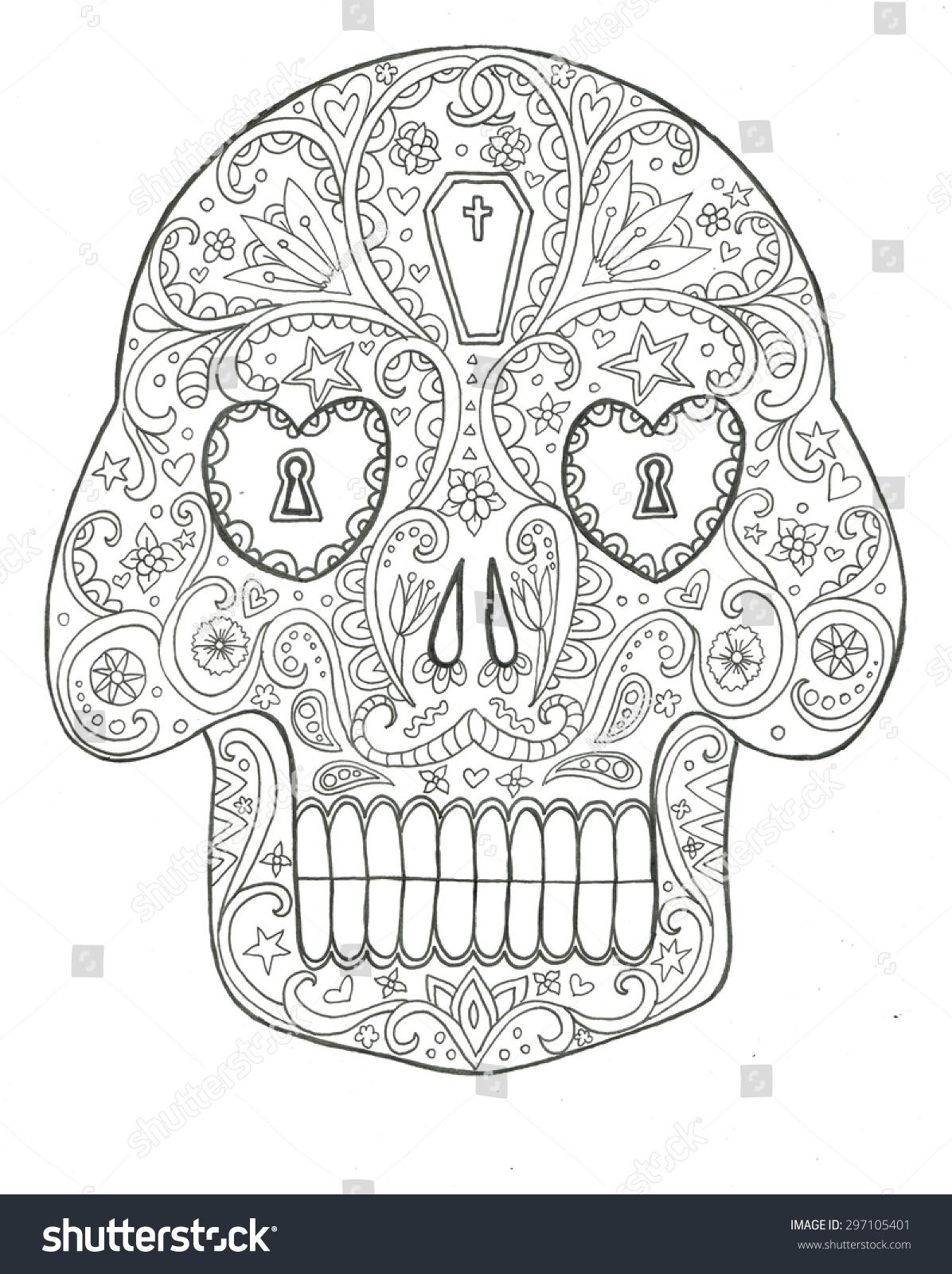 sugar skull day dead halloween line stock illustration 297105401