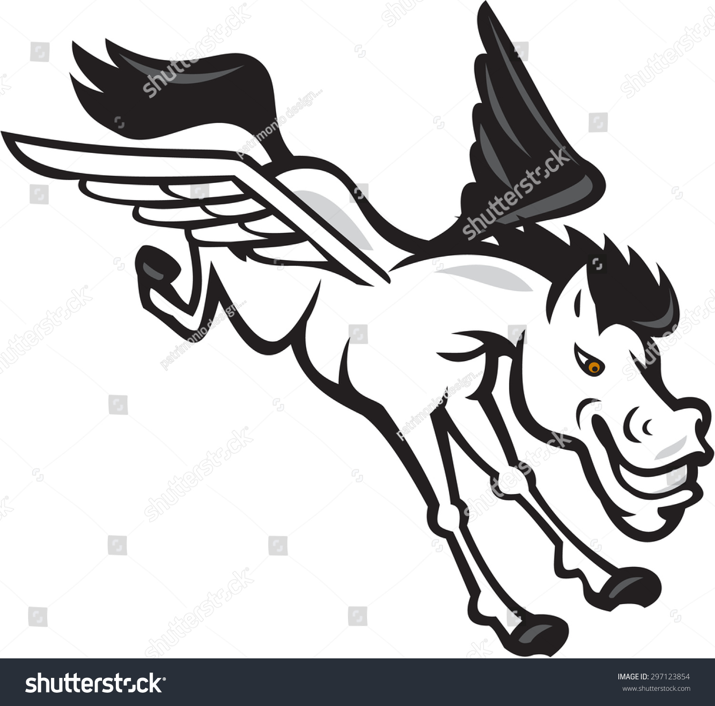illustration pegasus flying horse viewed side stock illustration