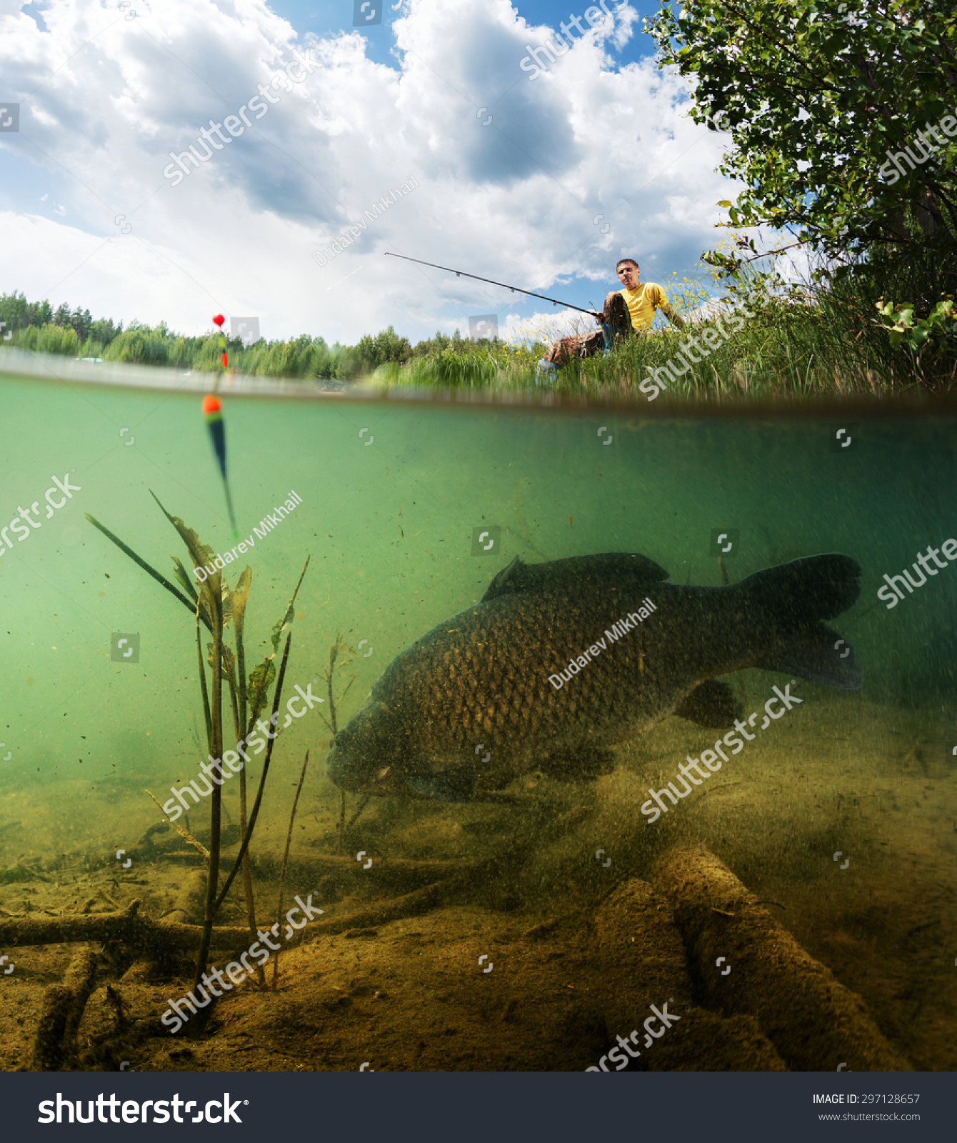 Split shot of the freshwater pond with fisherman above the for Surface fish ponds