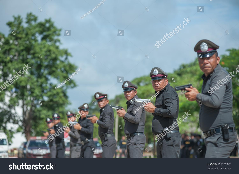 SURATTHANI THAILAND Jul 13 Polices Practice Stock Photo