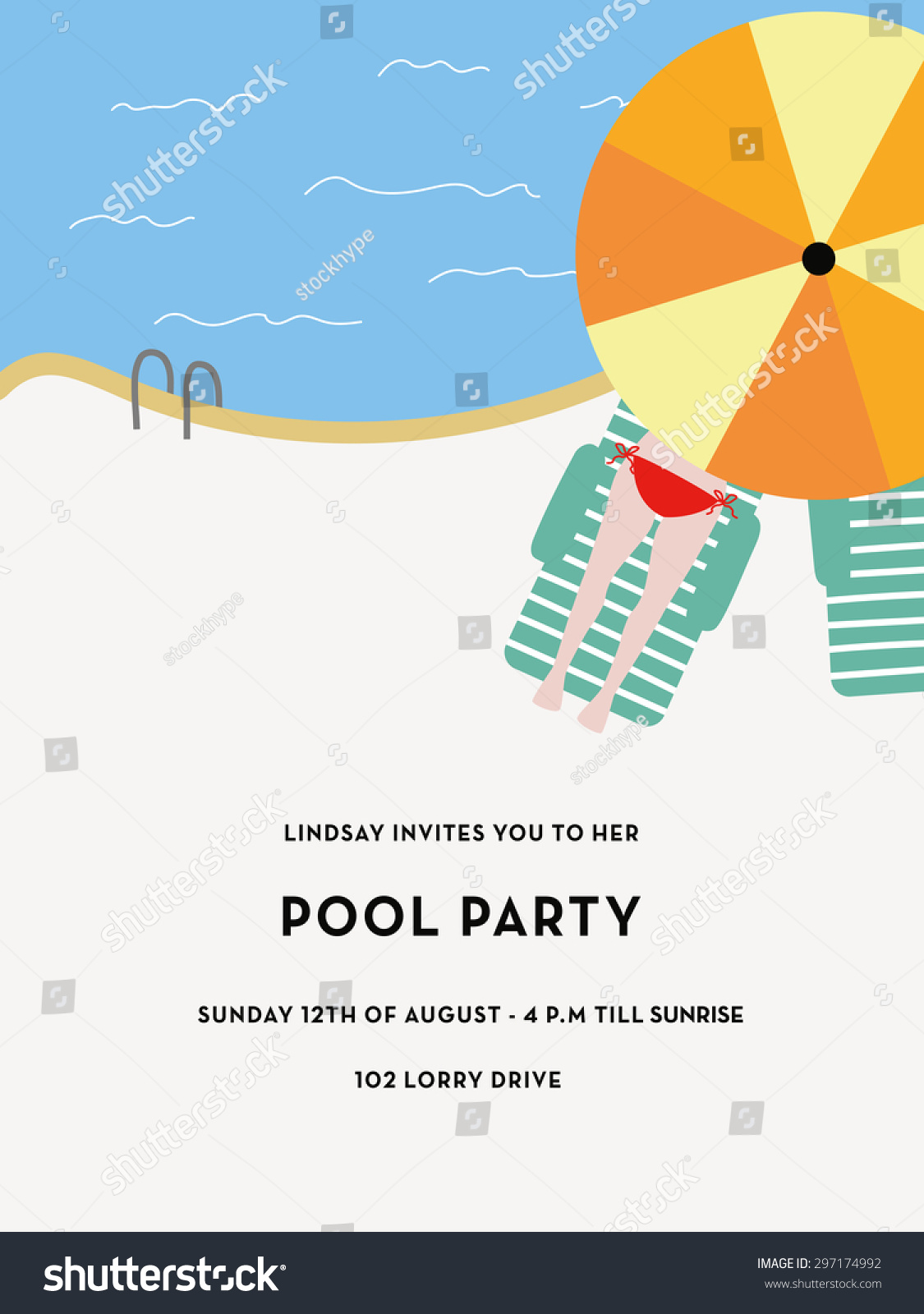 Pool Party Invitation Card Pool Girl Stock Vector 297174992 ...