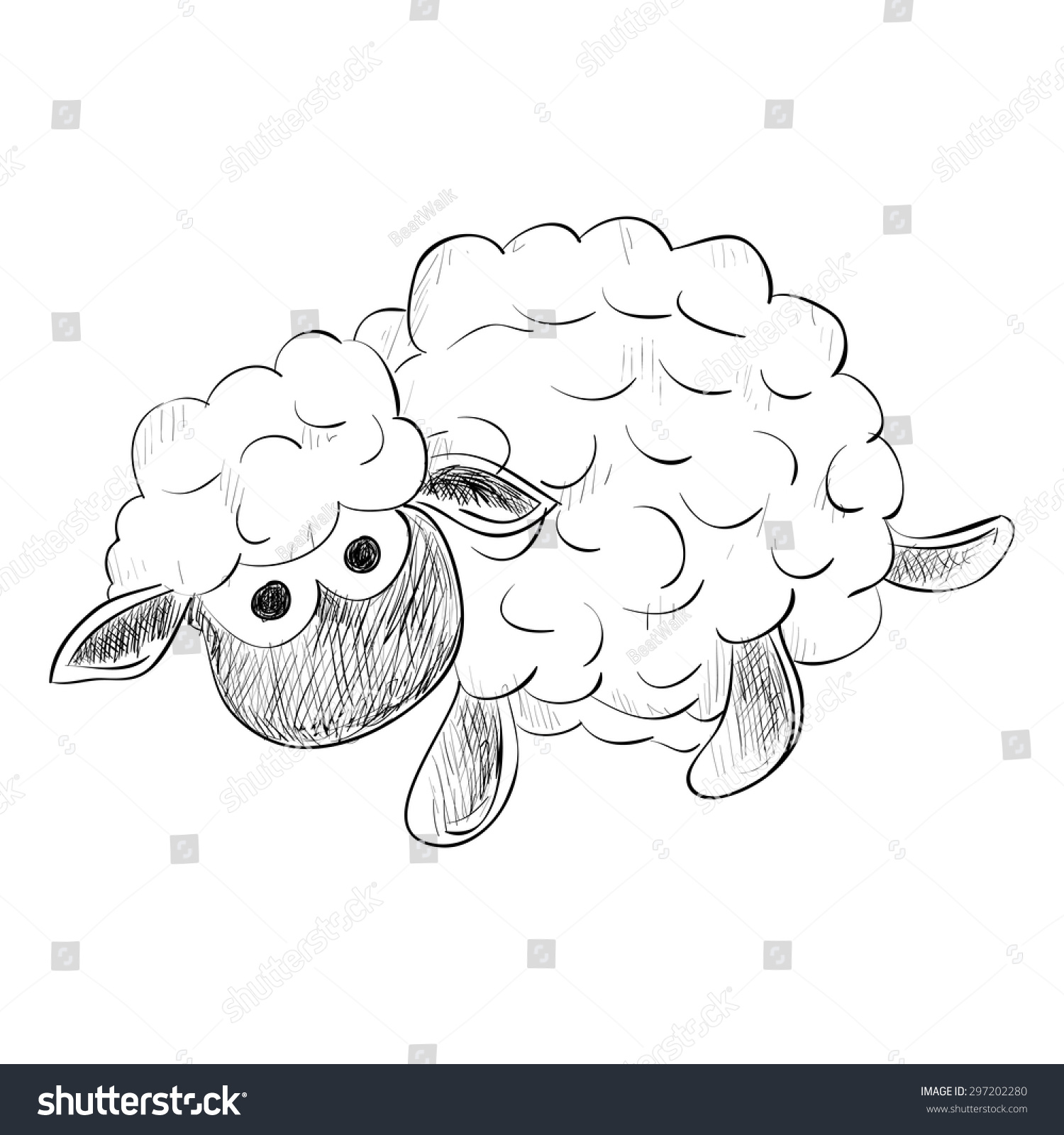 vector sketch of toy sheep hand draw illustration