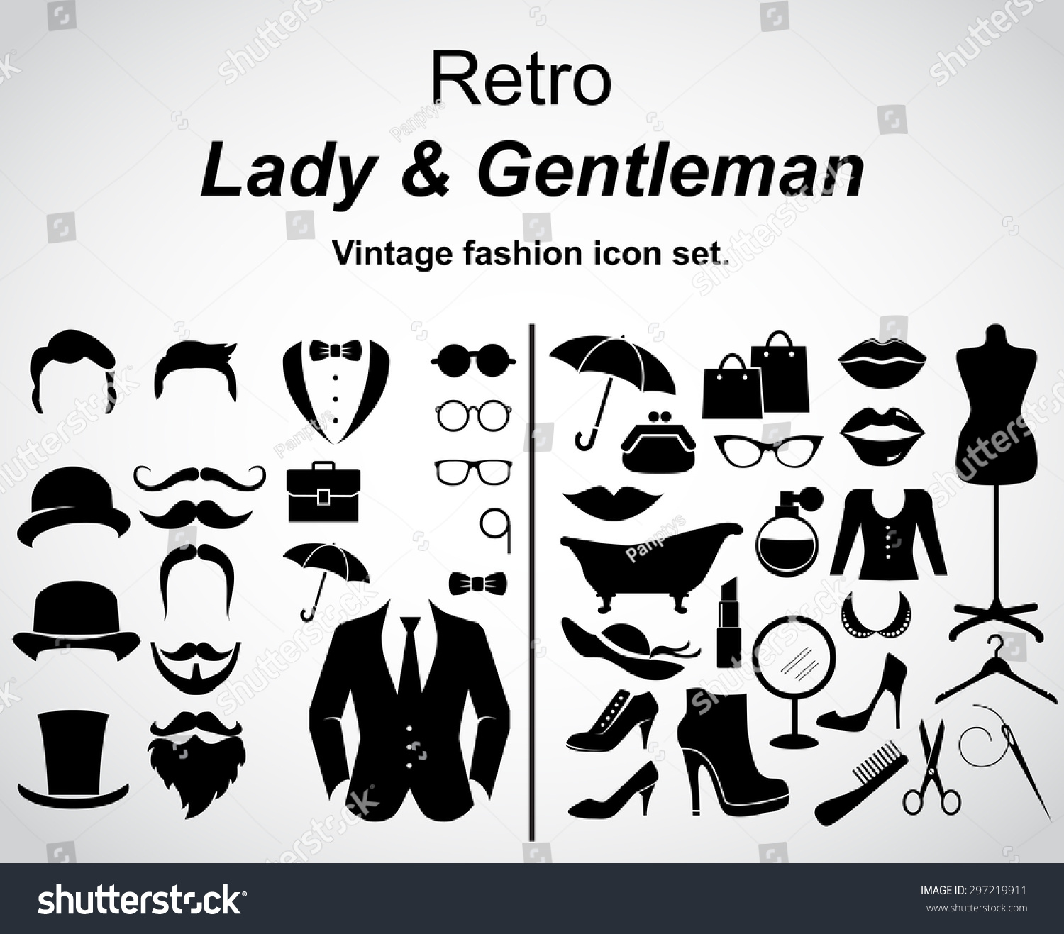 Retro Gentleman And Lady Vintage Fashion Icon Set Vector Art 297219911 Shutterstock