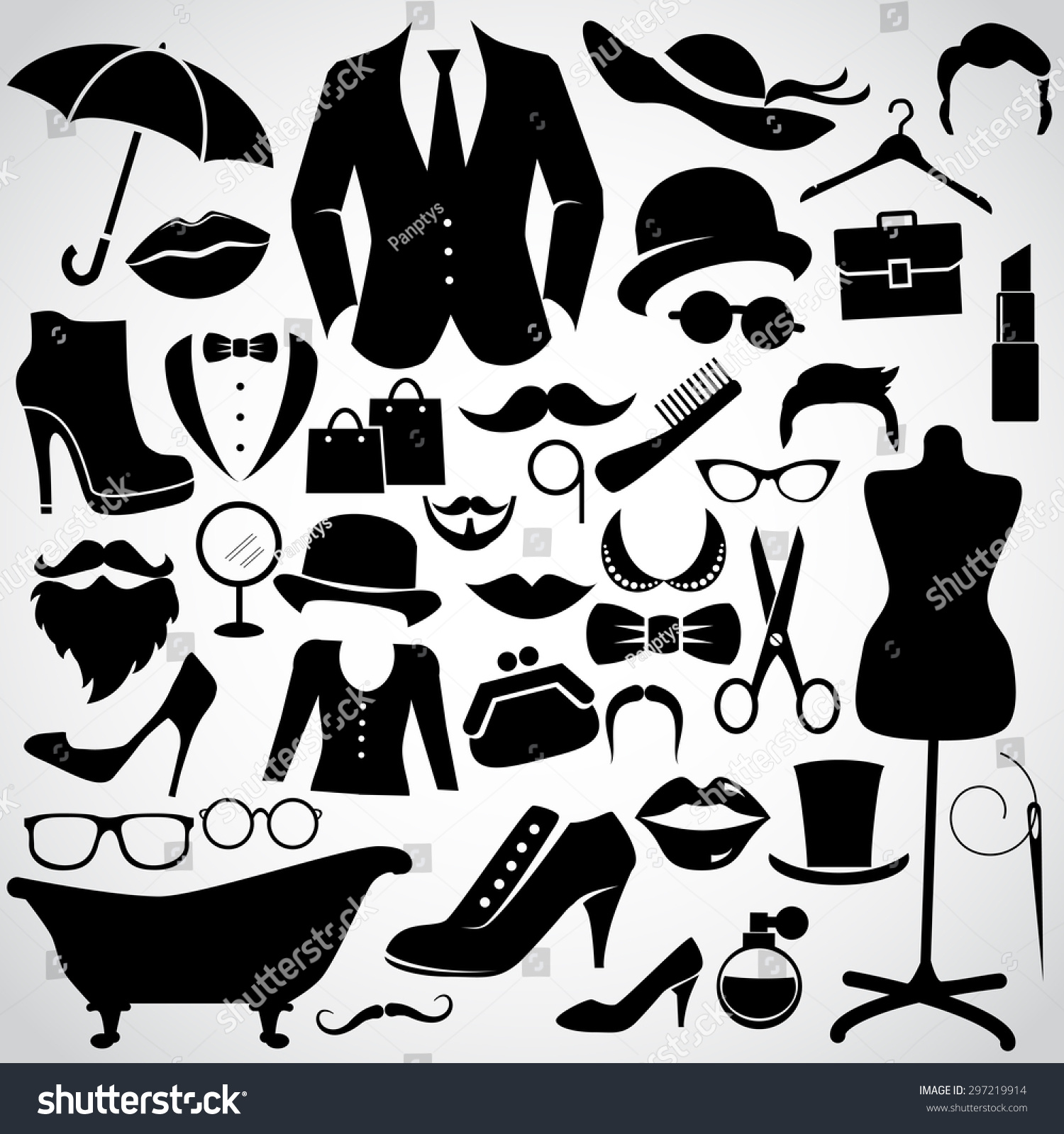 Retro Gentleman Lady Vintage Fashion Icon Stock Vector 297219914 Shutterstock