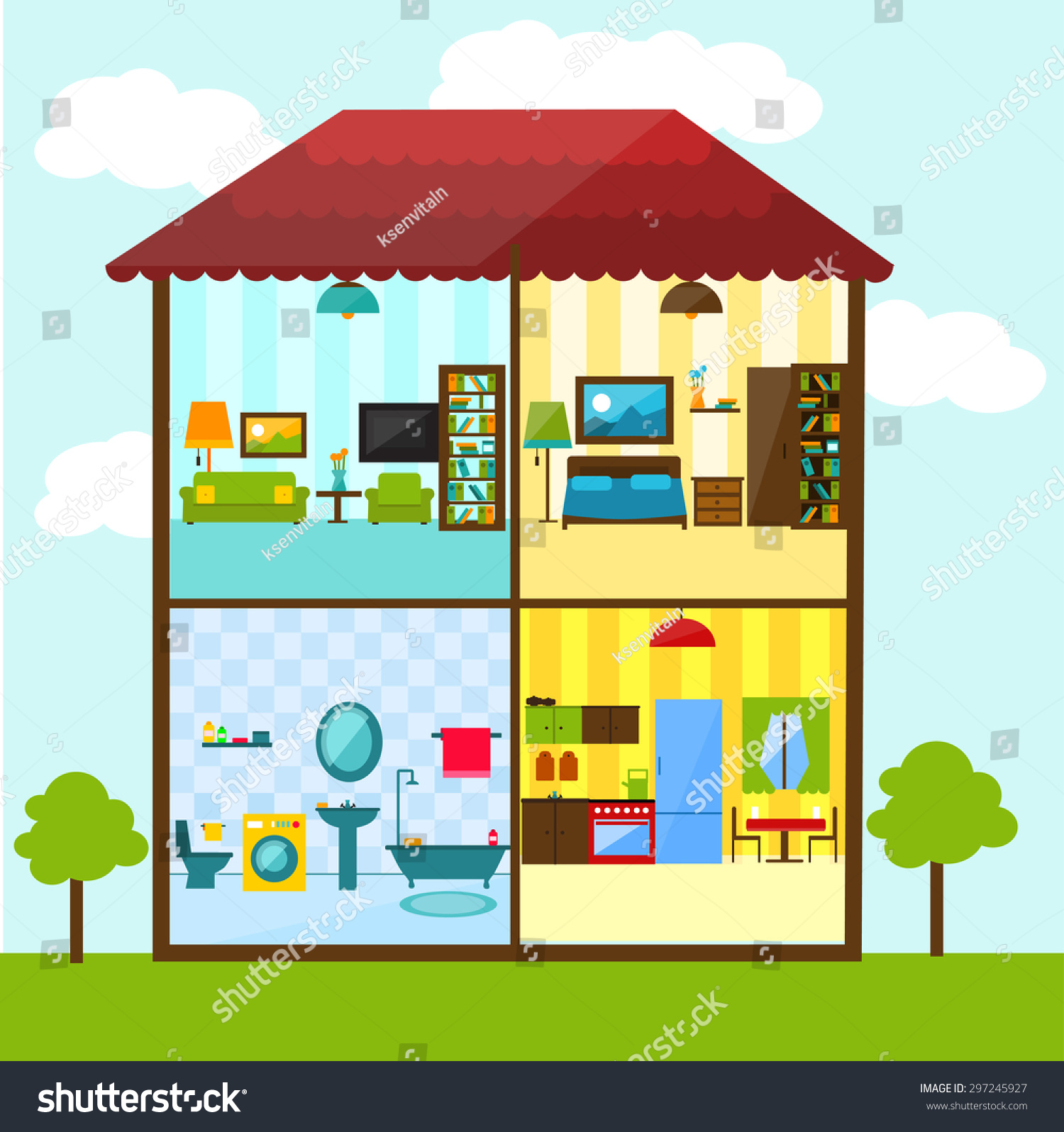 crosssection house flat style illustration bathroom stock