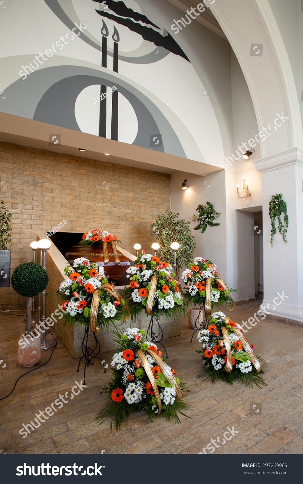 Funeral hall wooden coffin flower decoration stock photo royalty funeral hall with wooden coffin and flower decoration prepared for burial ceremony izmirmasajfo