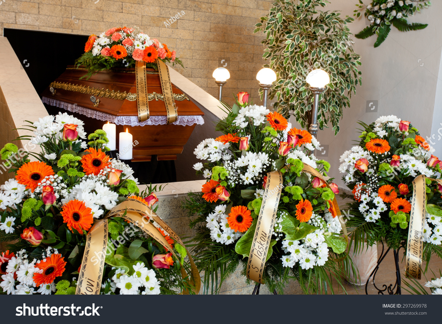 Funeral Hall Wooden Coffin Flower Decoration Stock Photo Edit Now
