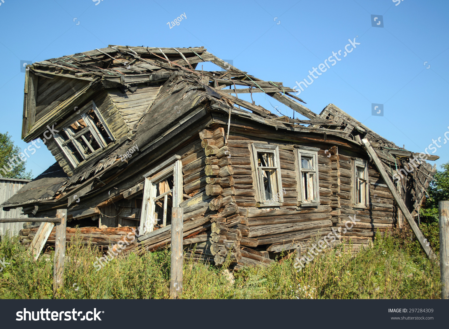 Old Abandoned Broken House Russian Village Stock Photo (Edit Now) 297284309