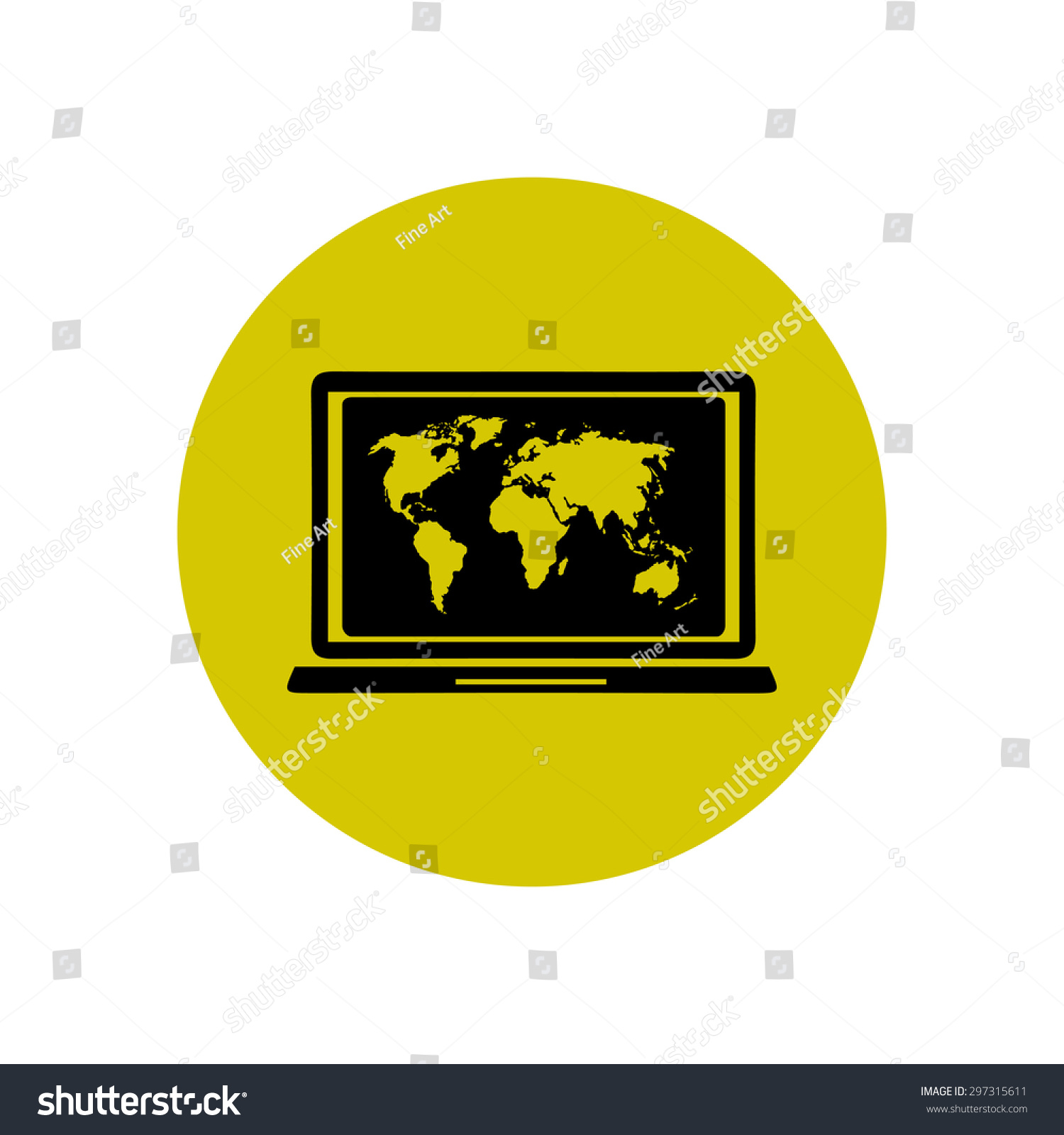 Laptop world map illustration world map stock vector 297315611 laptop and world map illustration world map geography symbol flat design style vector gumiabroncs Images