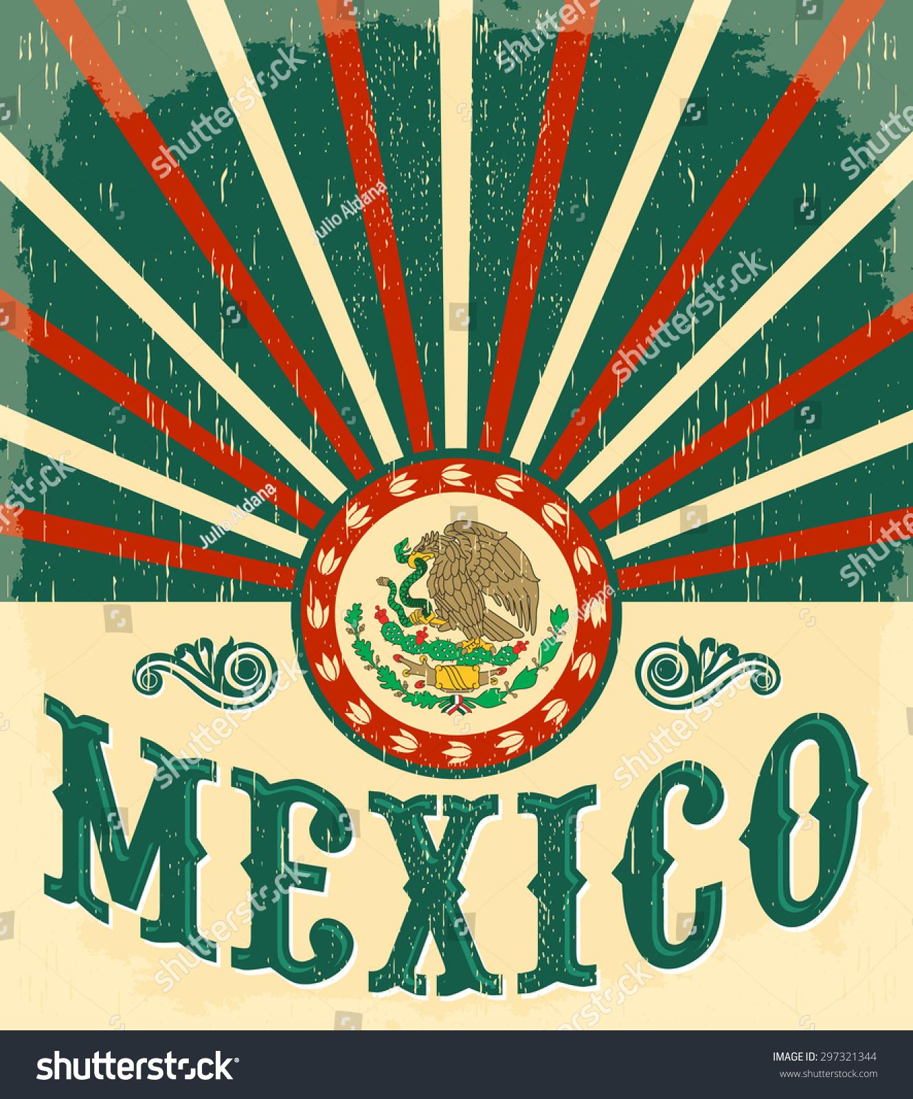 Mexico vintage patriotic poster card vector design mexican holiday decoration 297321344 - Poster decoracion ...