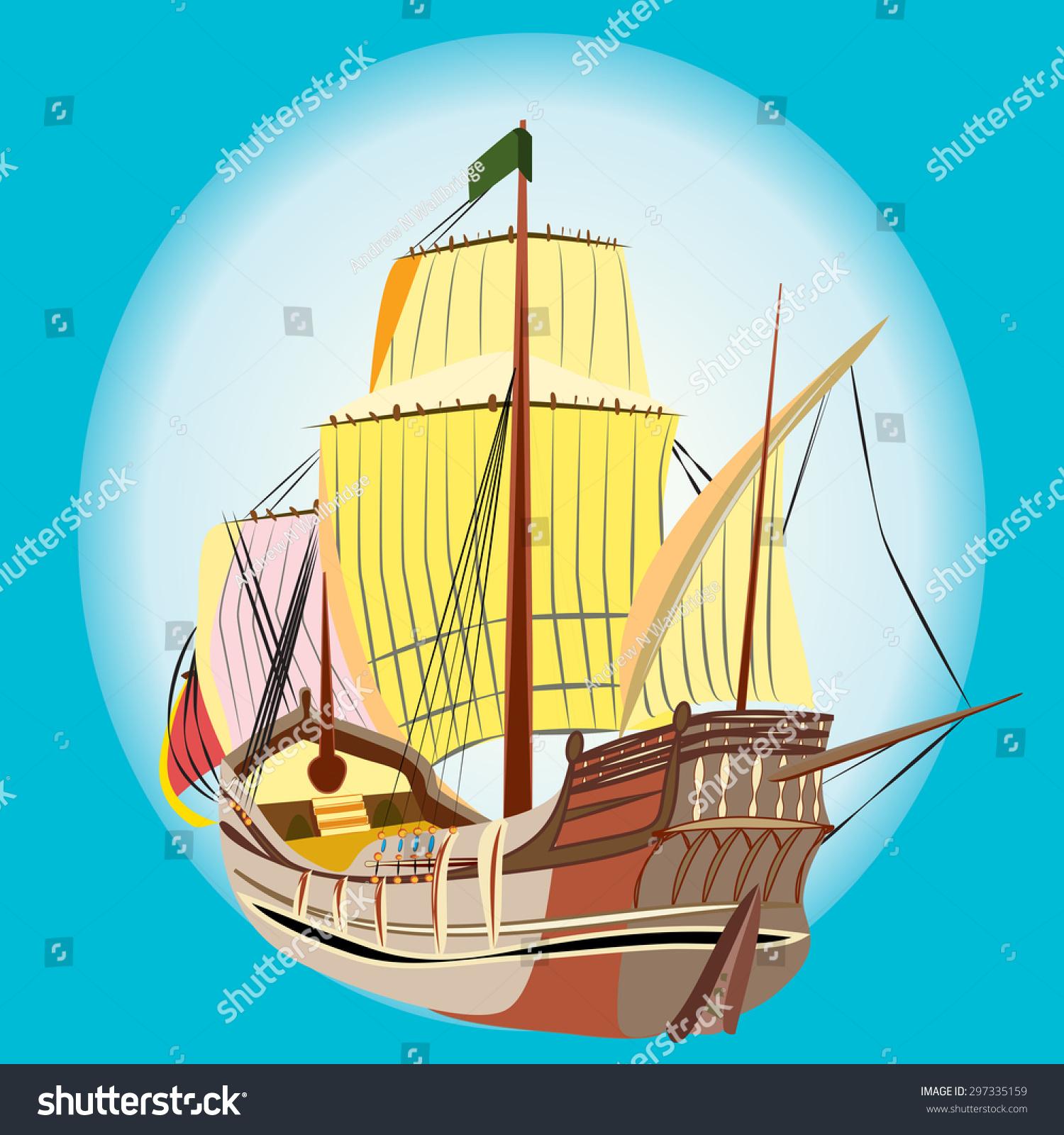Vector Illustration Old Wooden Sailing Ship Stock Vector Royalty