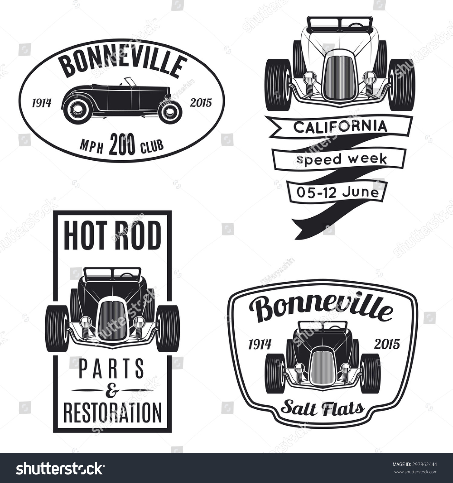 Royalty-free Vector set of vintage hot rod car icons… #297362444 ...