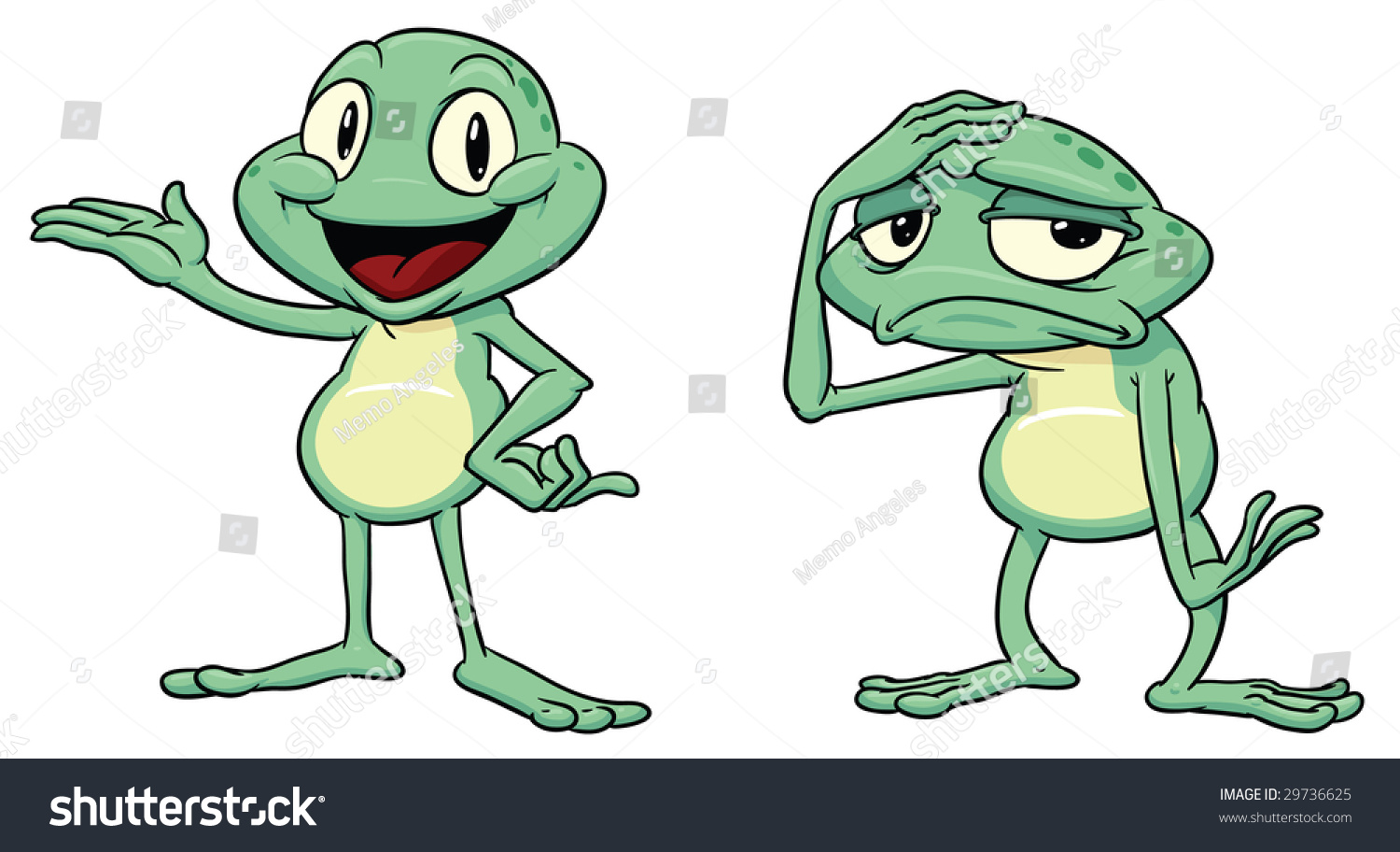 Happy and sad cartoon frogs each on a different layer for easy editing