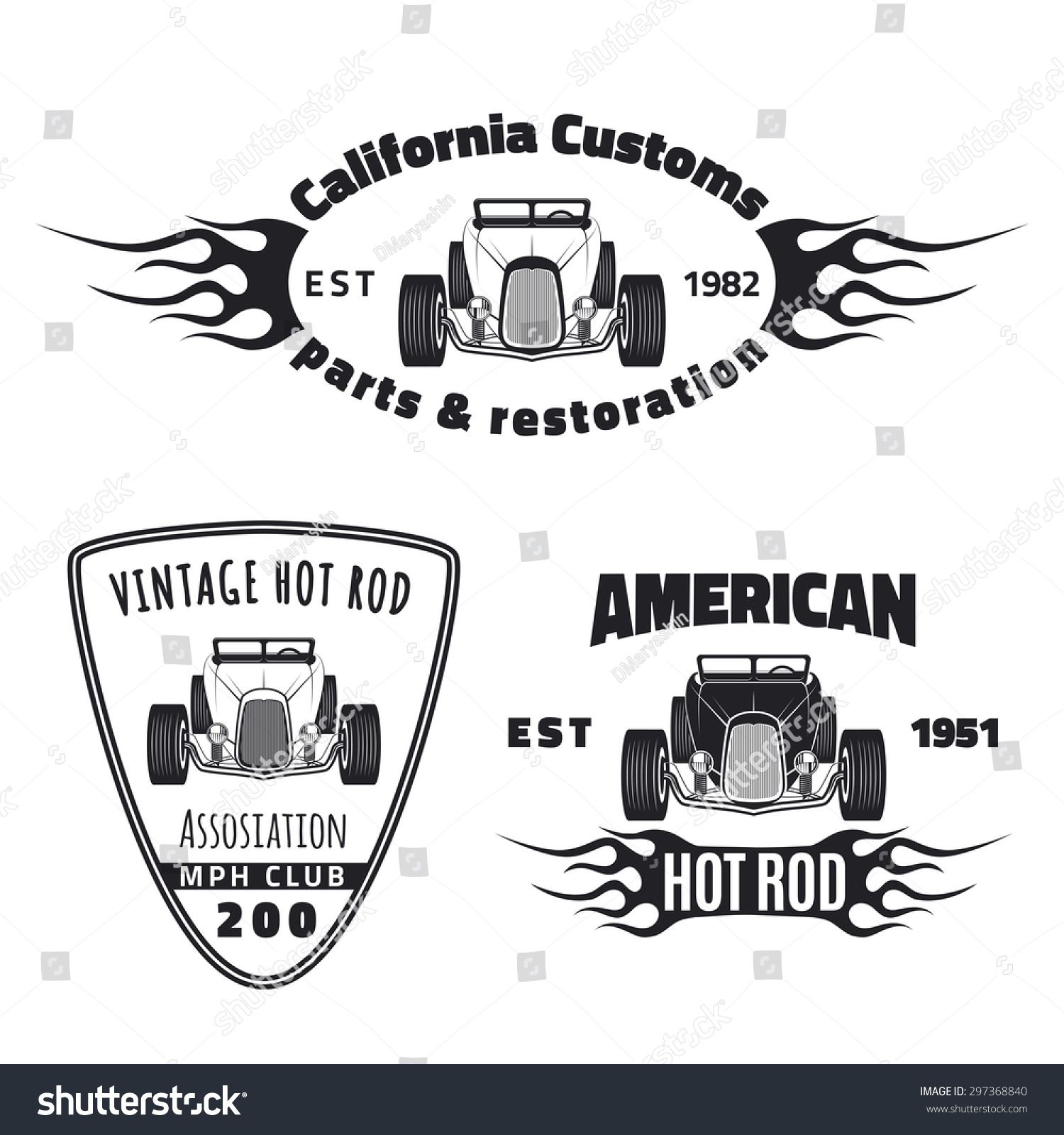Set of vintage hot rod car labels logos and icons Hot rod car club and classic car restoration emblems Car company logo design