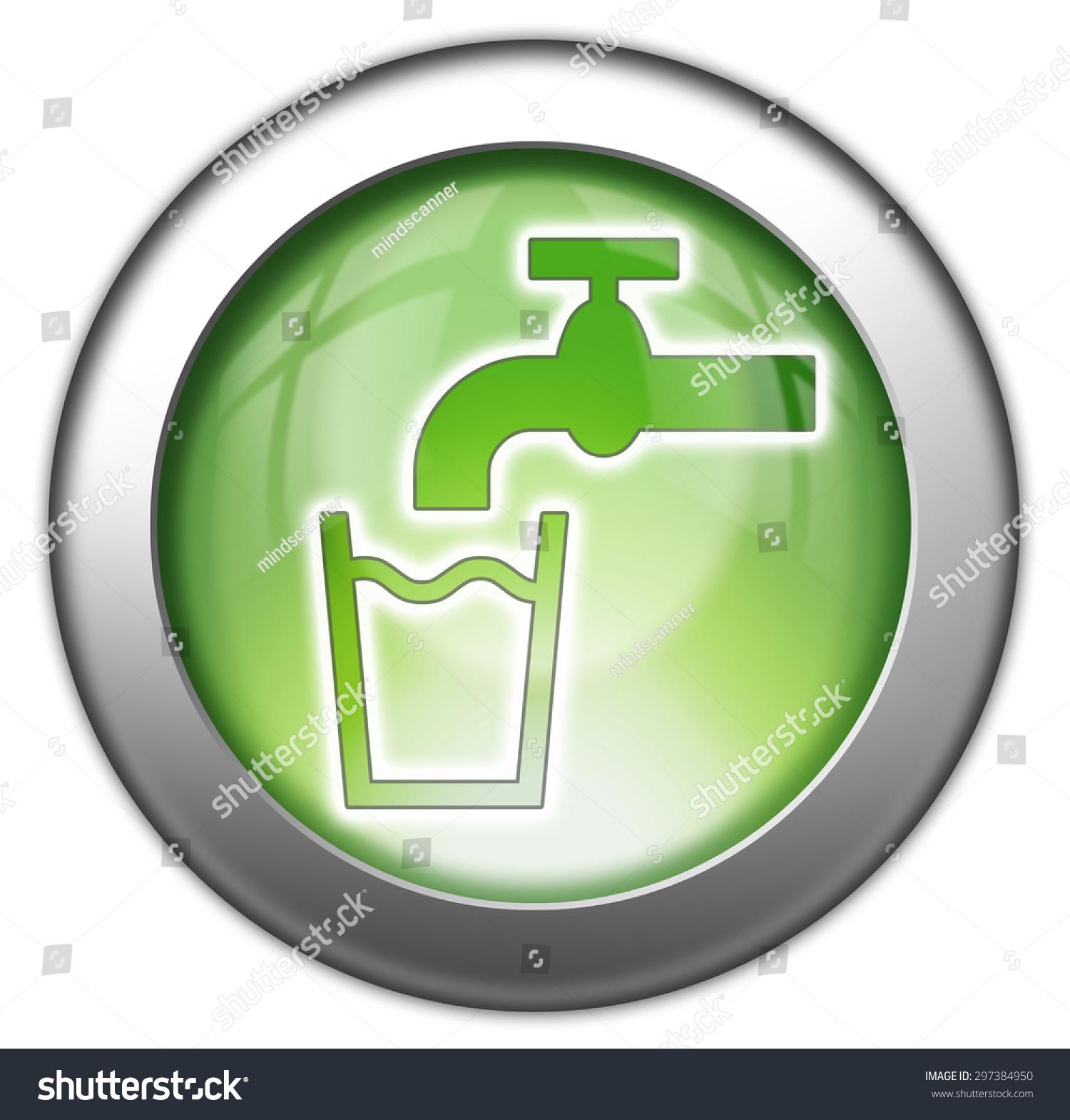 Icon Button Pictogram Running Water Symbol Stock Illustration