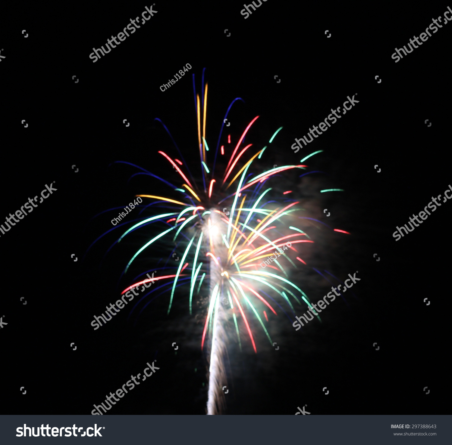 Blue Green Yellow Red Stream Firework Stock Photo ...
