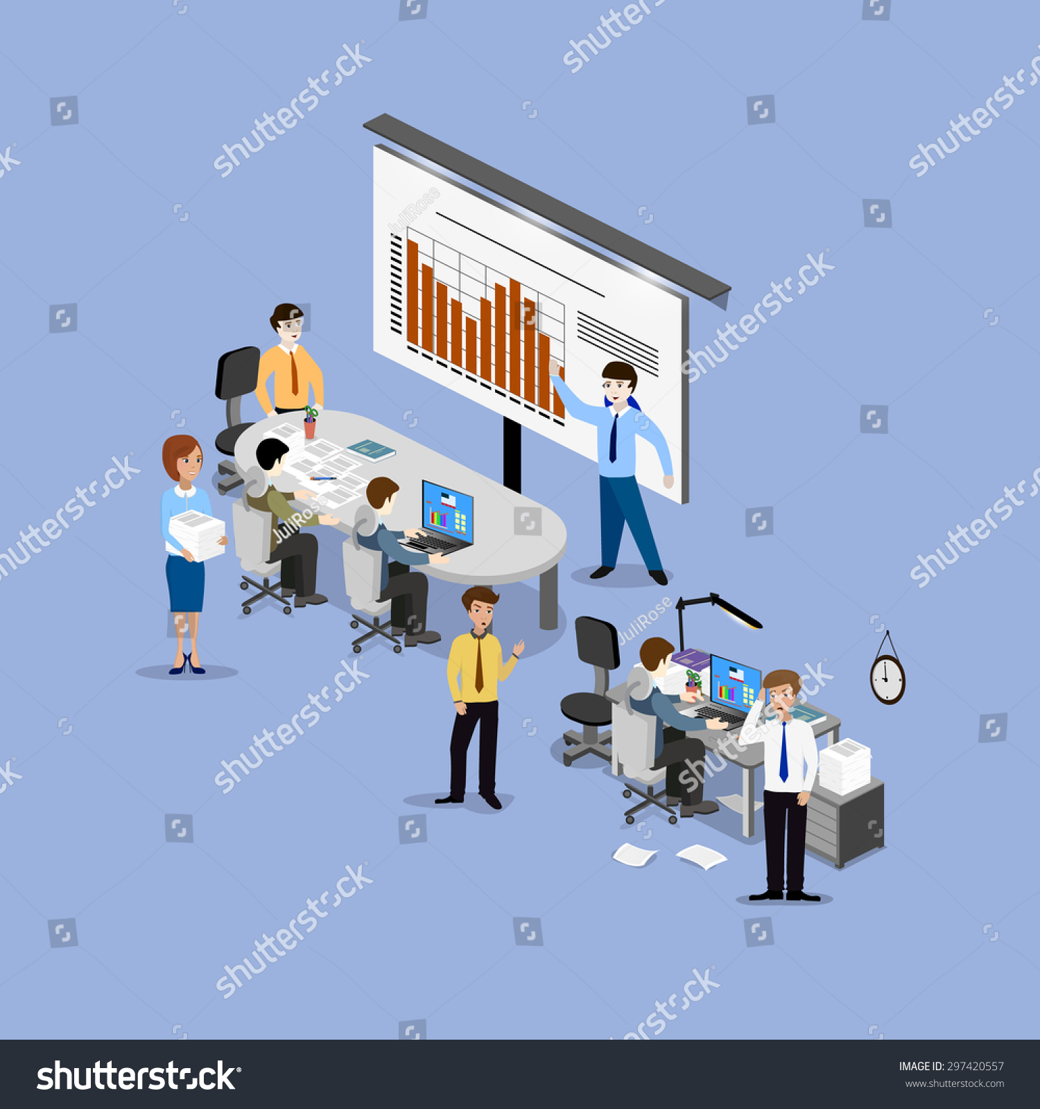 Concept Office Work Teamwork Brainstorming Meeting Stock Vector 297420557