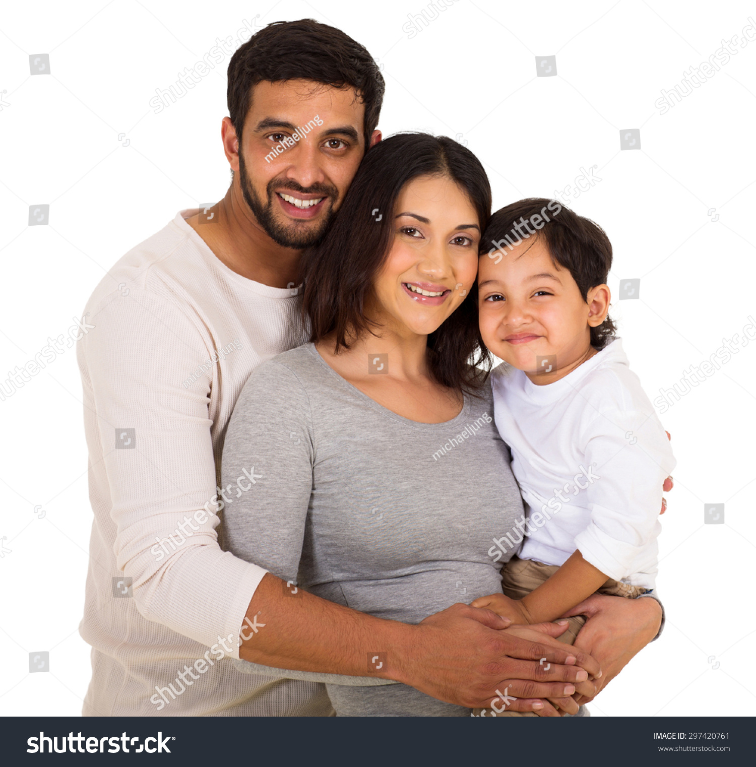 Happy Indian Family On White Background Stock Photo Edit Now
