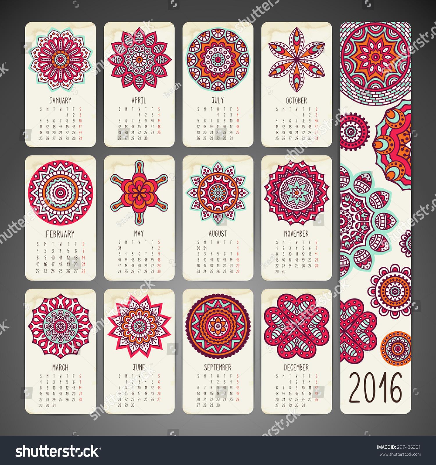 Calendar Vintage Vector : Calendar vintage decorative elements oriental stock
