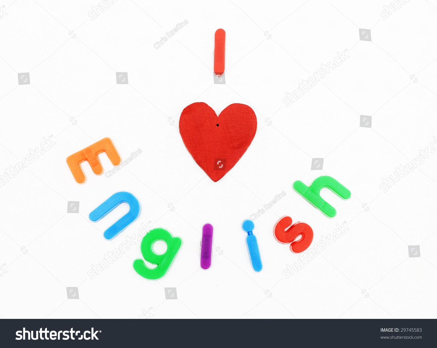 Childrens alphabet letters heart used spell stock photo image childrens alphabet letters and a heart are used to spell i love english ccuart Image collections