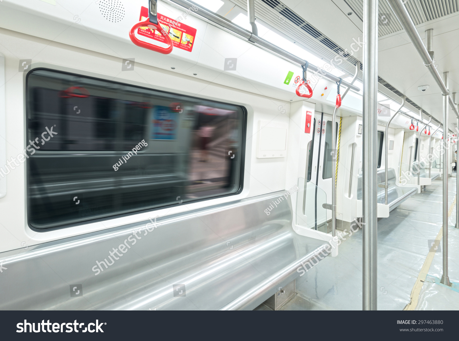 interior view subway car stock photo 297463880 shutterstock. Black Bedroom Furniture Sets. Home Design Ideas