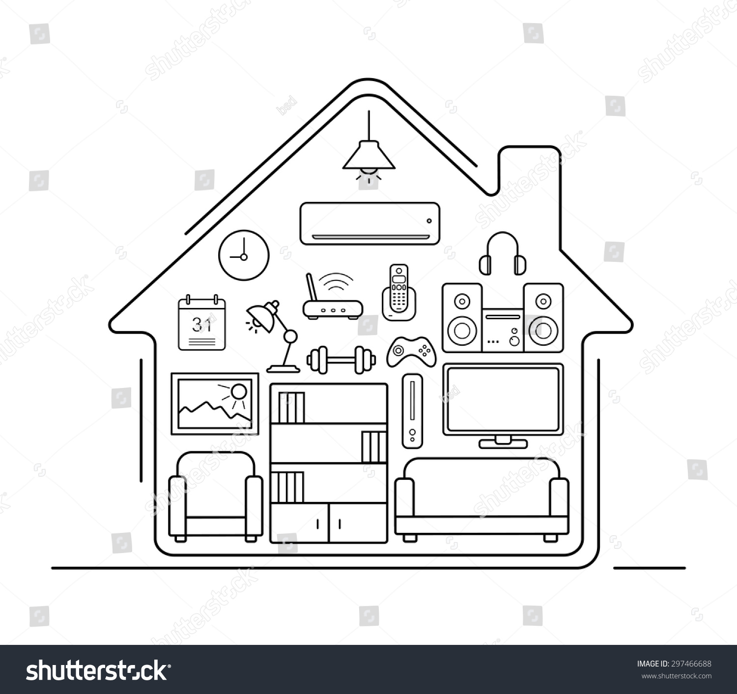 Modern Smart Home Thin Line Art Icons Interior With Electronics And Furniture Illustration