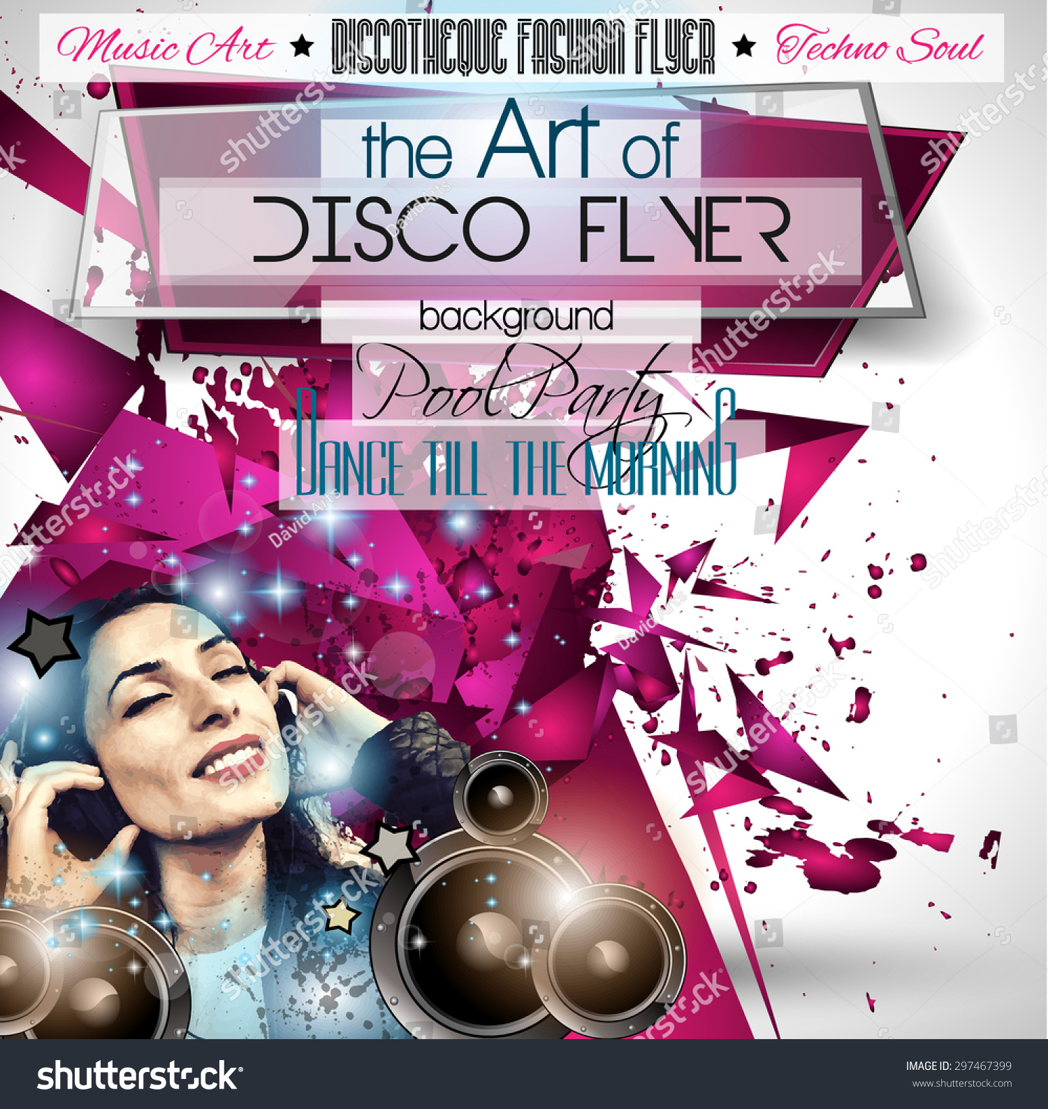 club disco flyer set dj girl stock vector royalty free 297467399