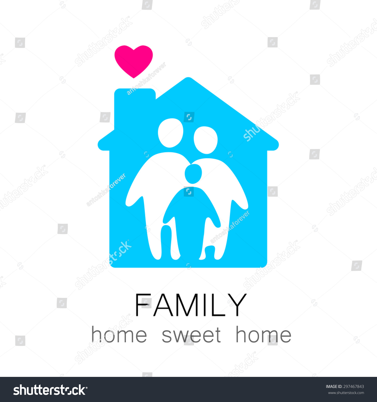 Family and home concept Silhouette family icon and house