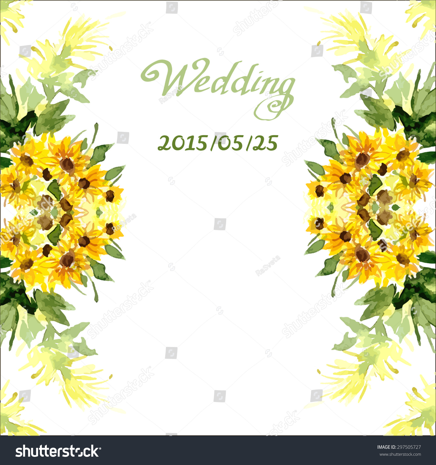 Watercolor Card Flowers Sunflower Can Be Stock Vector 297505727 ...
