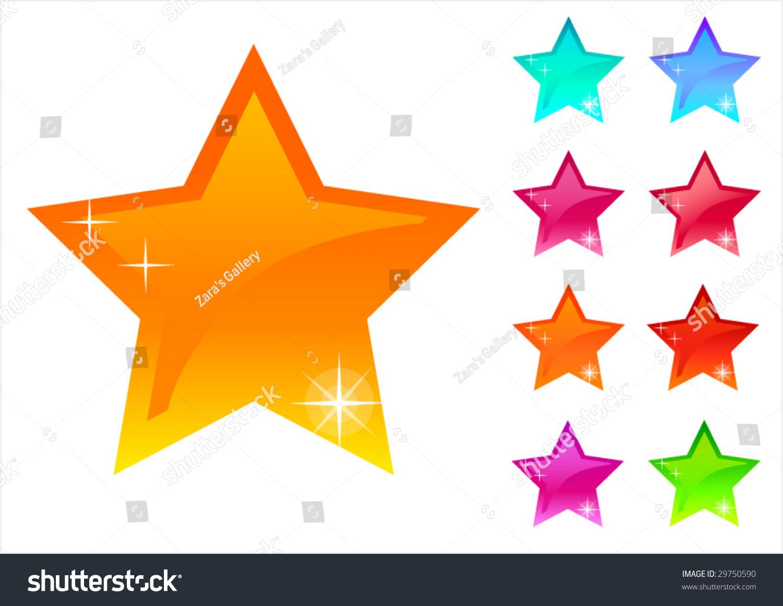 Colour vector stars web buttons design ellements for decoration