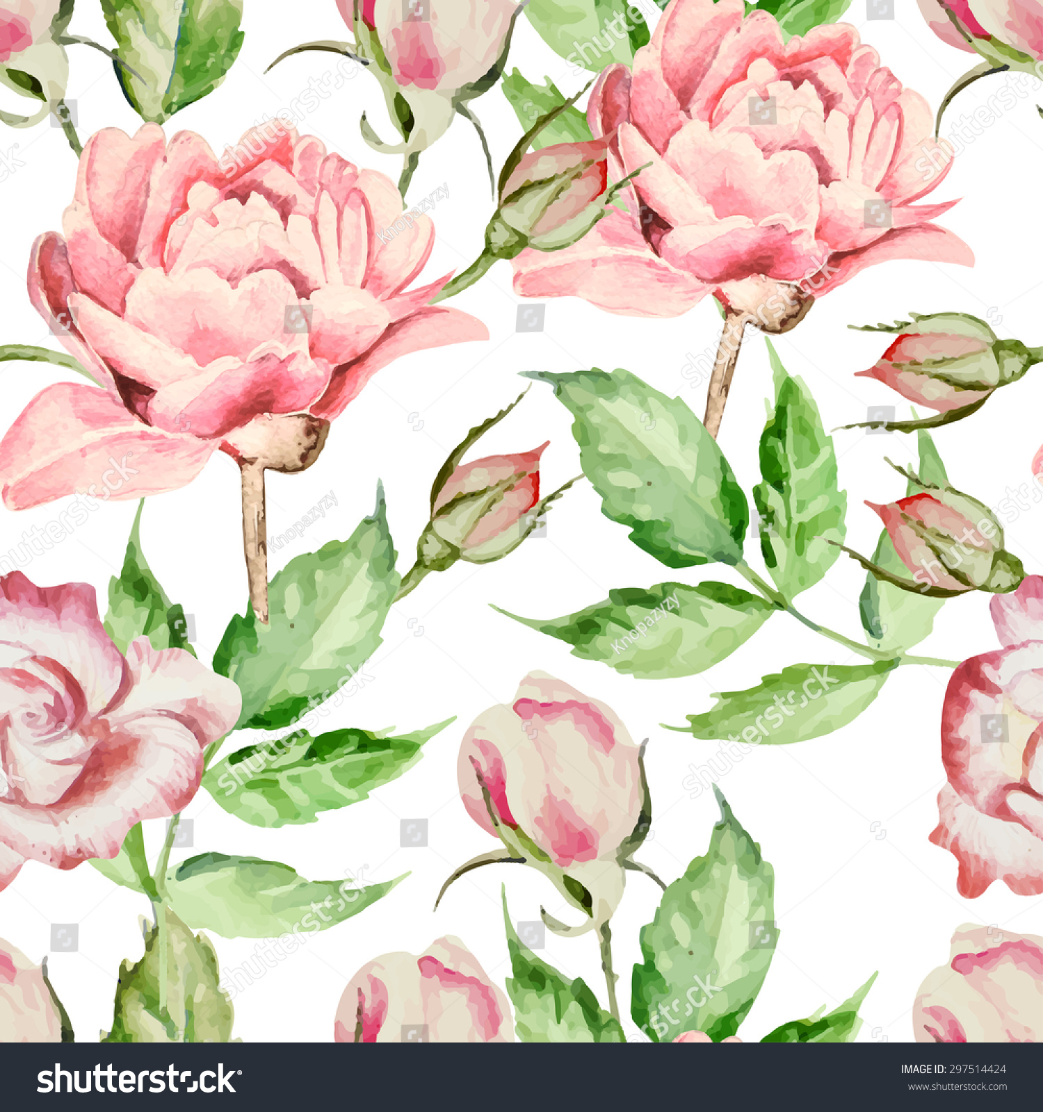 seamless pattern with watercolor flowers rose and peony vector hand drawn