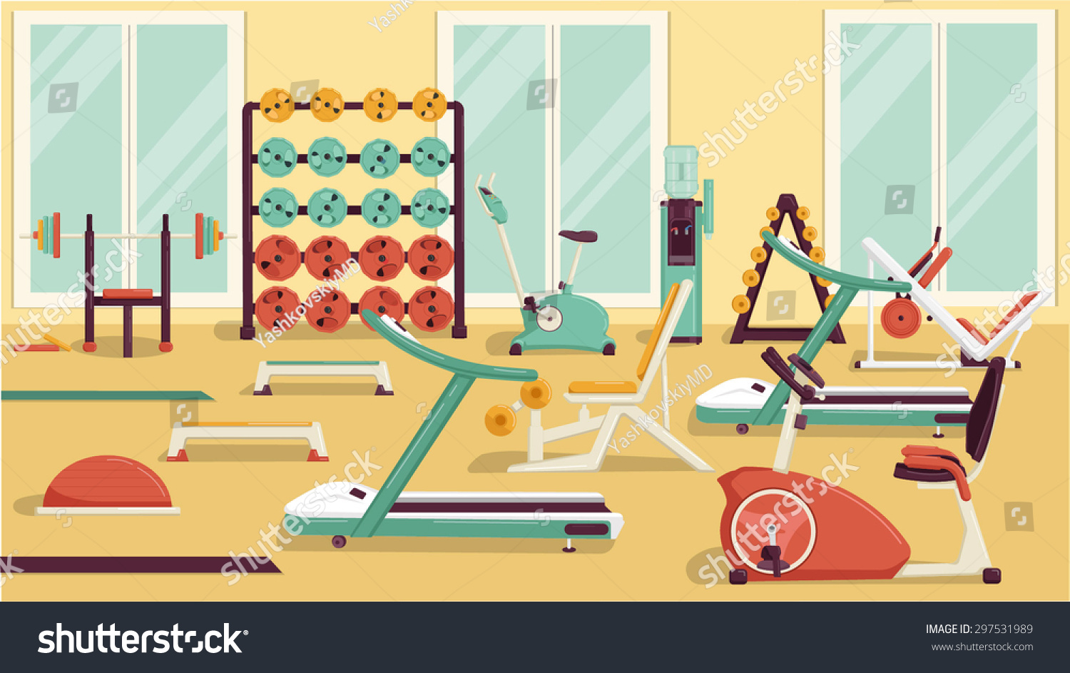 Flat colorful gym stock vector shutterstock
