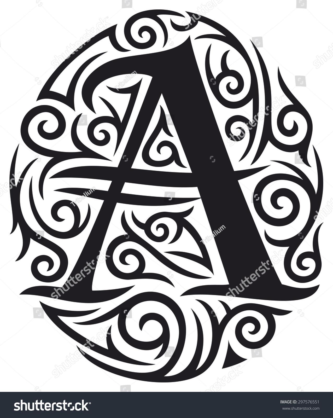 letter tattoo tribal design stock illustration 297576551